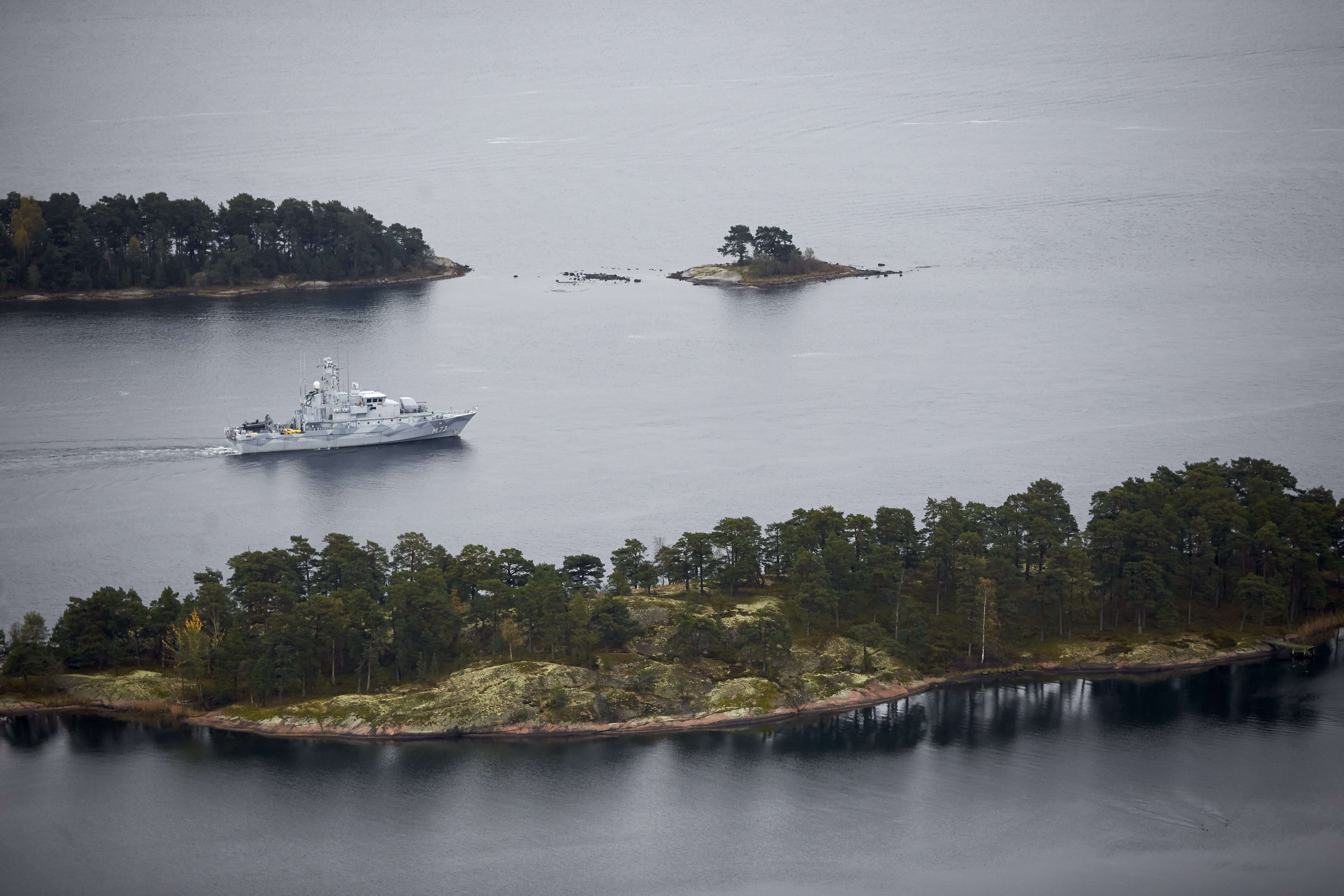Swedish minesweeper HMS Koster searching for what the military says is a foreign threat in the waters in the Stockholm Archipelago, Sweden, on Oct. 19 2014.