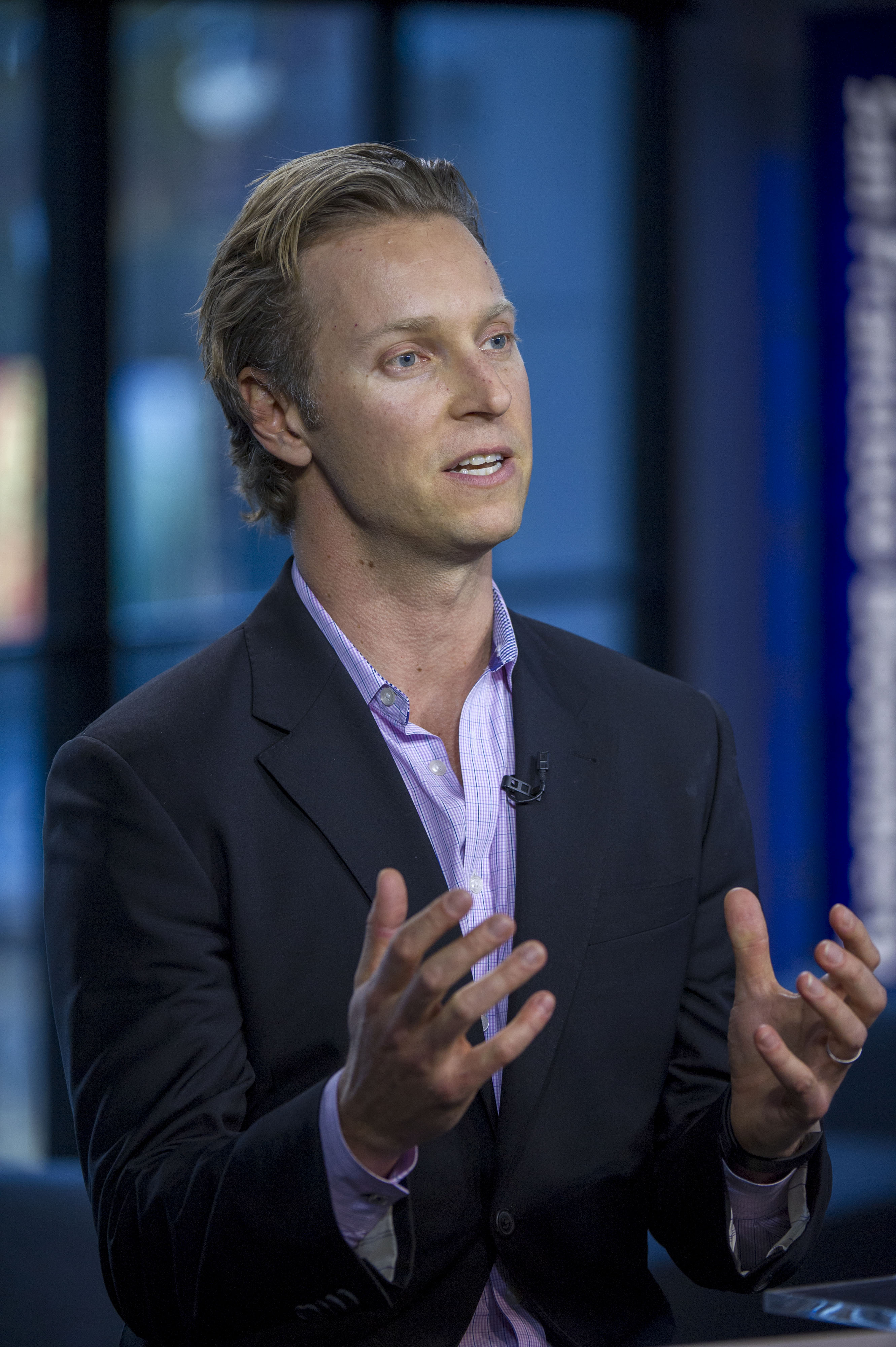 Sam Shank, chief executive officer and co-founder of HotelTonight Inc., speaks during a Bloomberg West Television interview in San Francisco, California on Jan. 2, 2014.