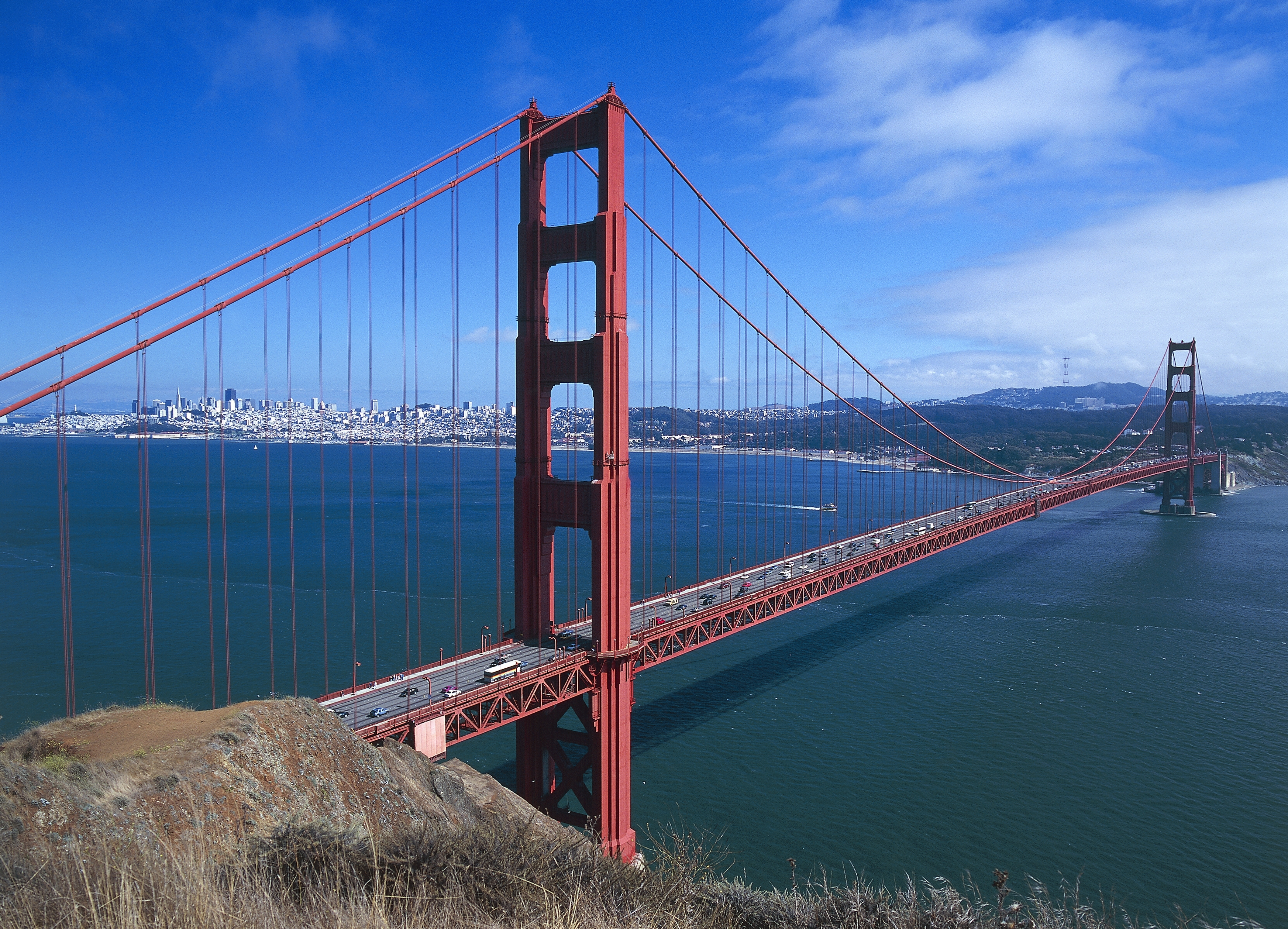 The Golden Gate Bridge by Joseph Baermann Strauss, with the bay and the city of San Francisco in the background, California, United States of America.