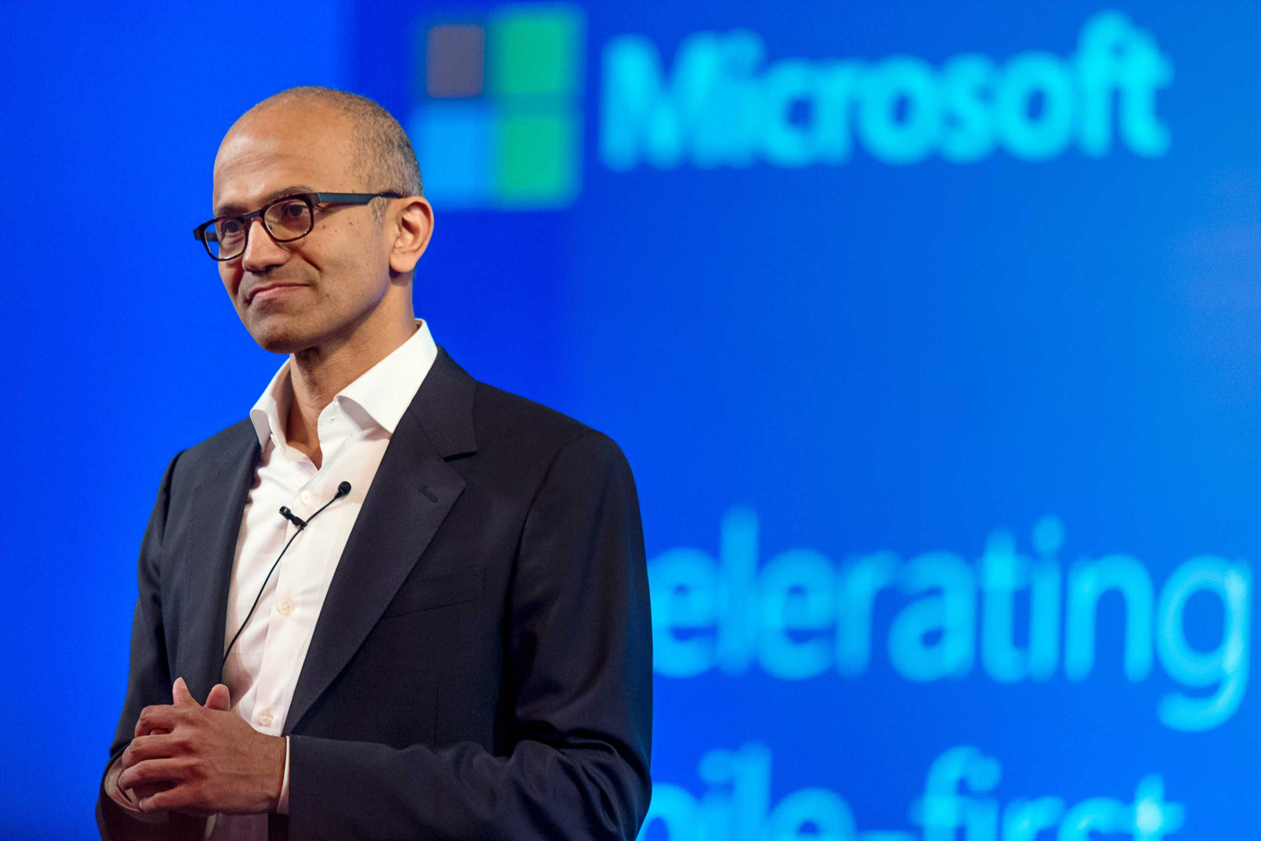 Satya Nadella, chief executive officer of Microsoft Corp., speaks during a news conference in New Delhi, India, on Sept. 30, 2014.