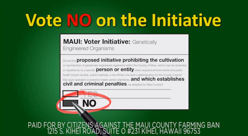 A still from an advertisement payed for by Citizens Against the Maui County Farming Ban, a group backed by agricultural giants Monsanto and DowAgroSciences