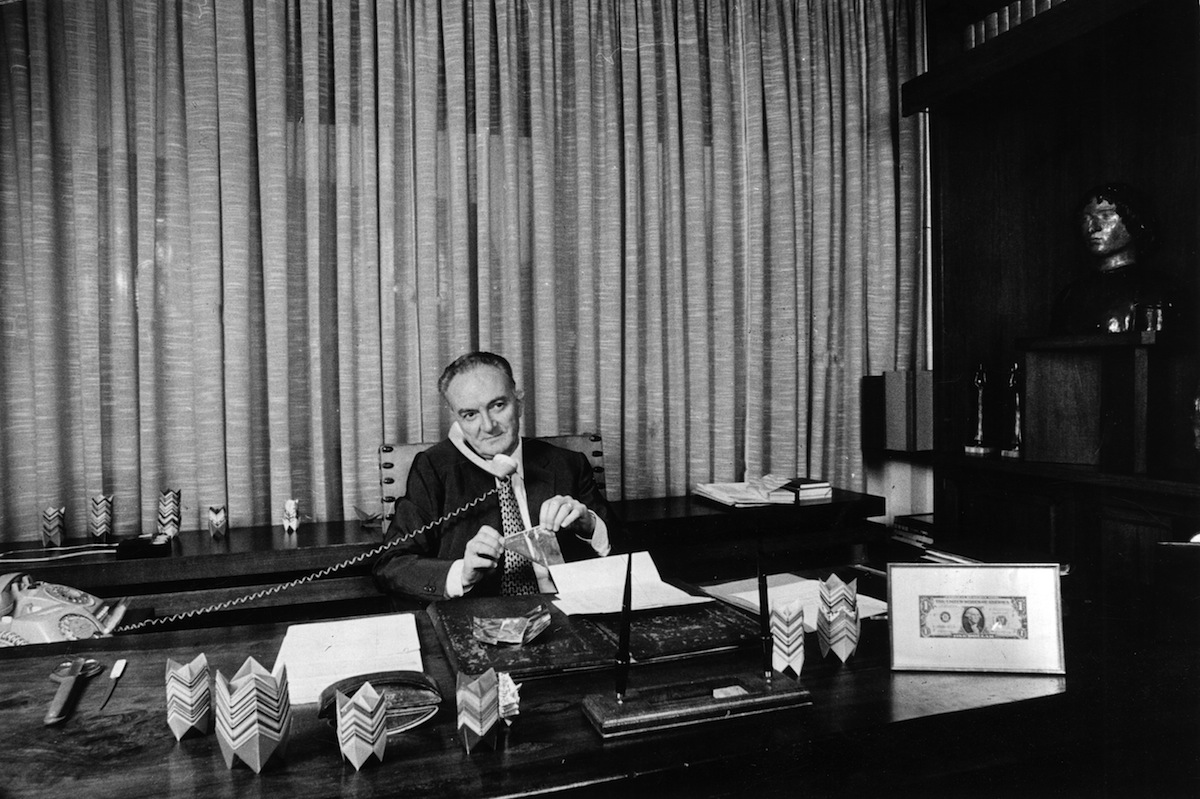 Michele Sindona in his office in 1970, before Franklin National Bank collapsed