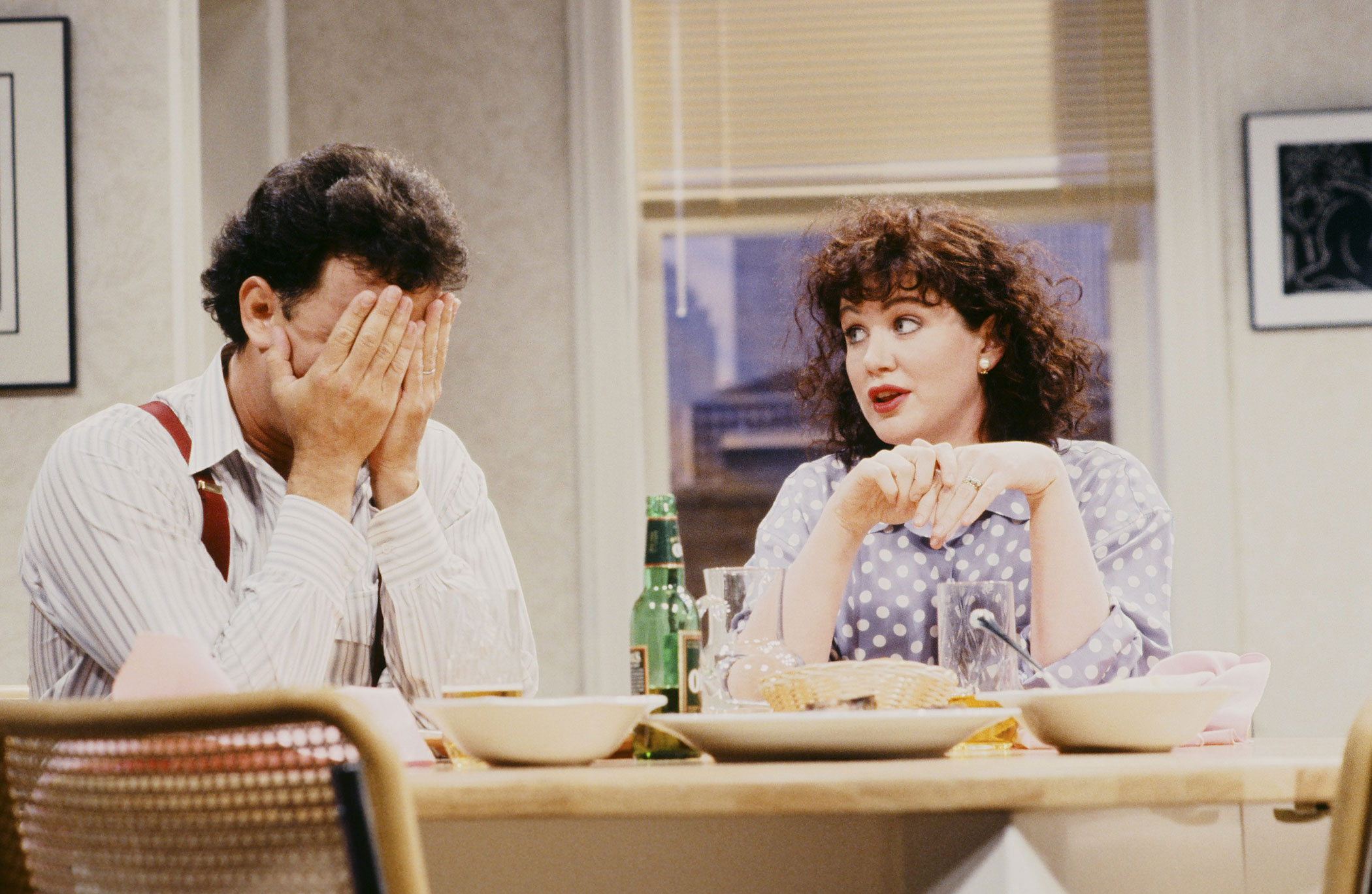 Tom Hanks as Rick and Julia Sweeney as Katie during the She Turned Into Her Mother skit on May 9, 2010.