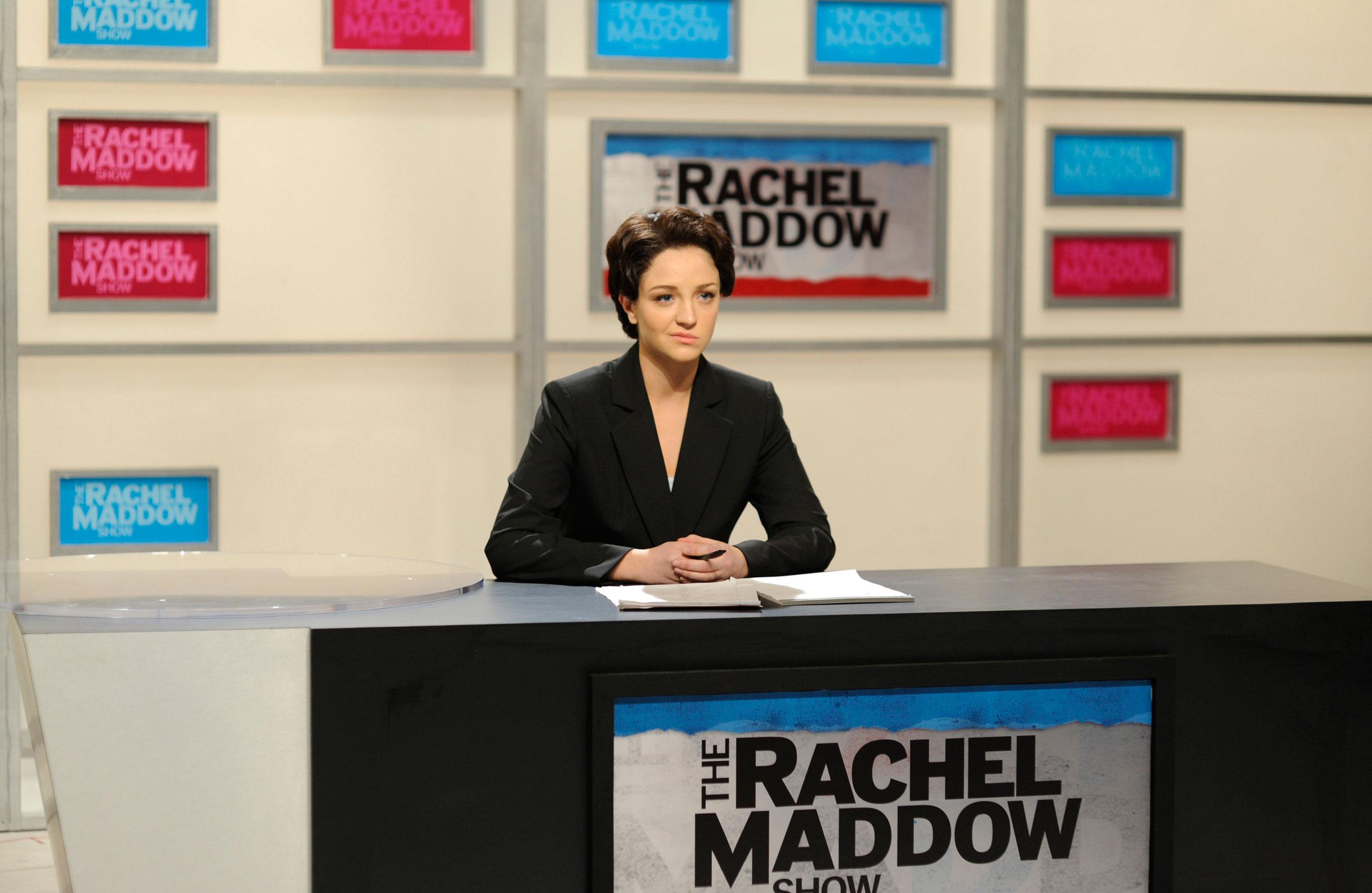 Abby Elliott as Rachel Maddow during The Rachel Maddow Show skit on Jan. 10, 2009.