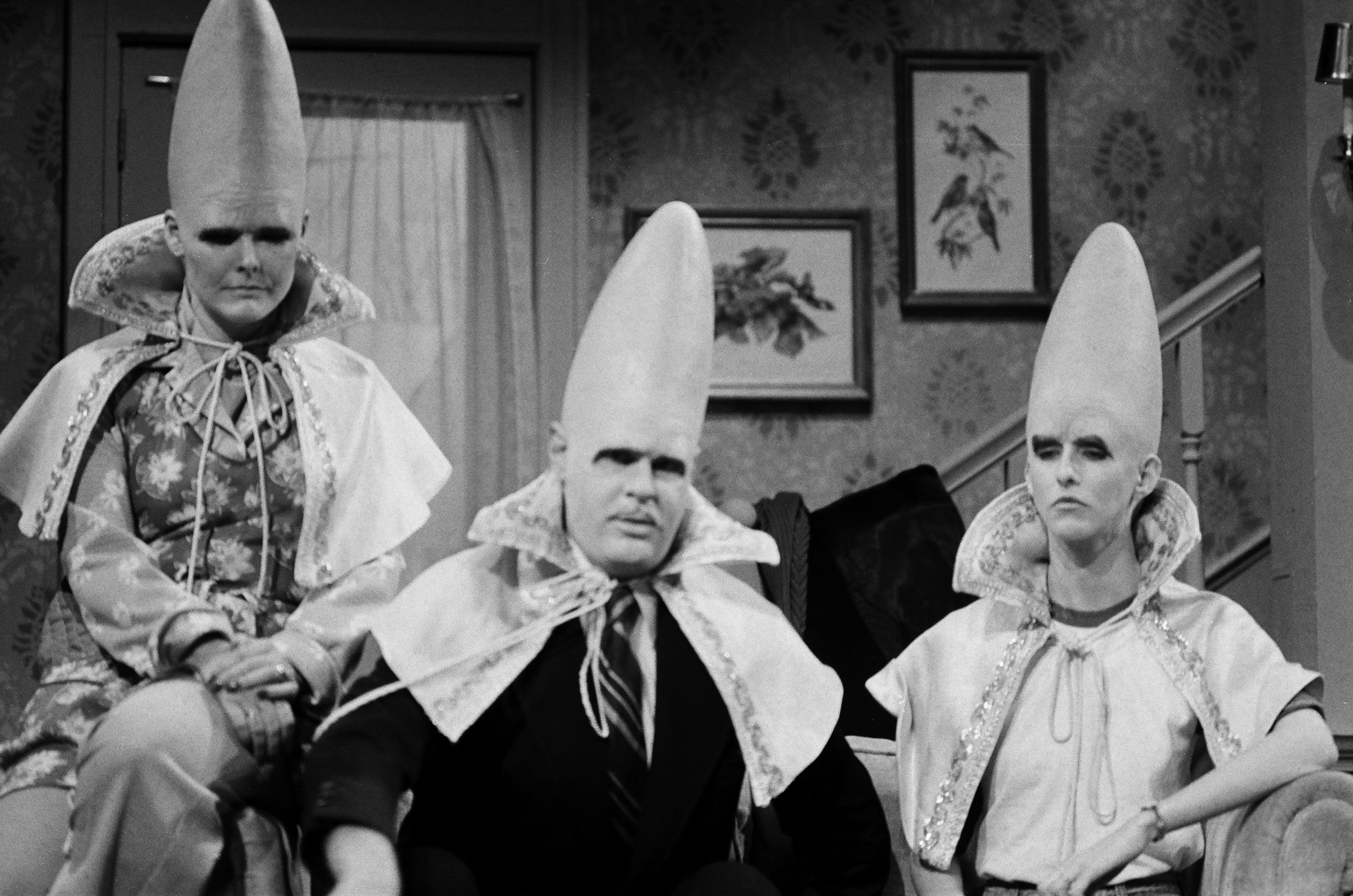 From left: Jane Curtin as Prymaat Conehead, Dan Aykroyd as Beldar Conehead and Laraine Newman as Connie Conehead during the The Coneheads at Home skit on Jan. 15, 1977.