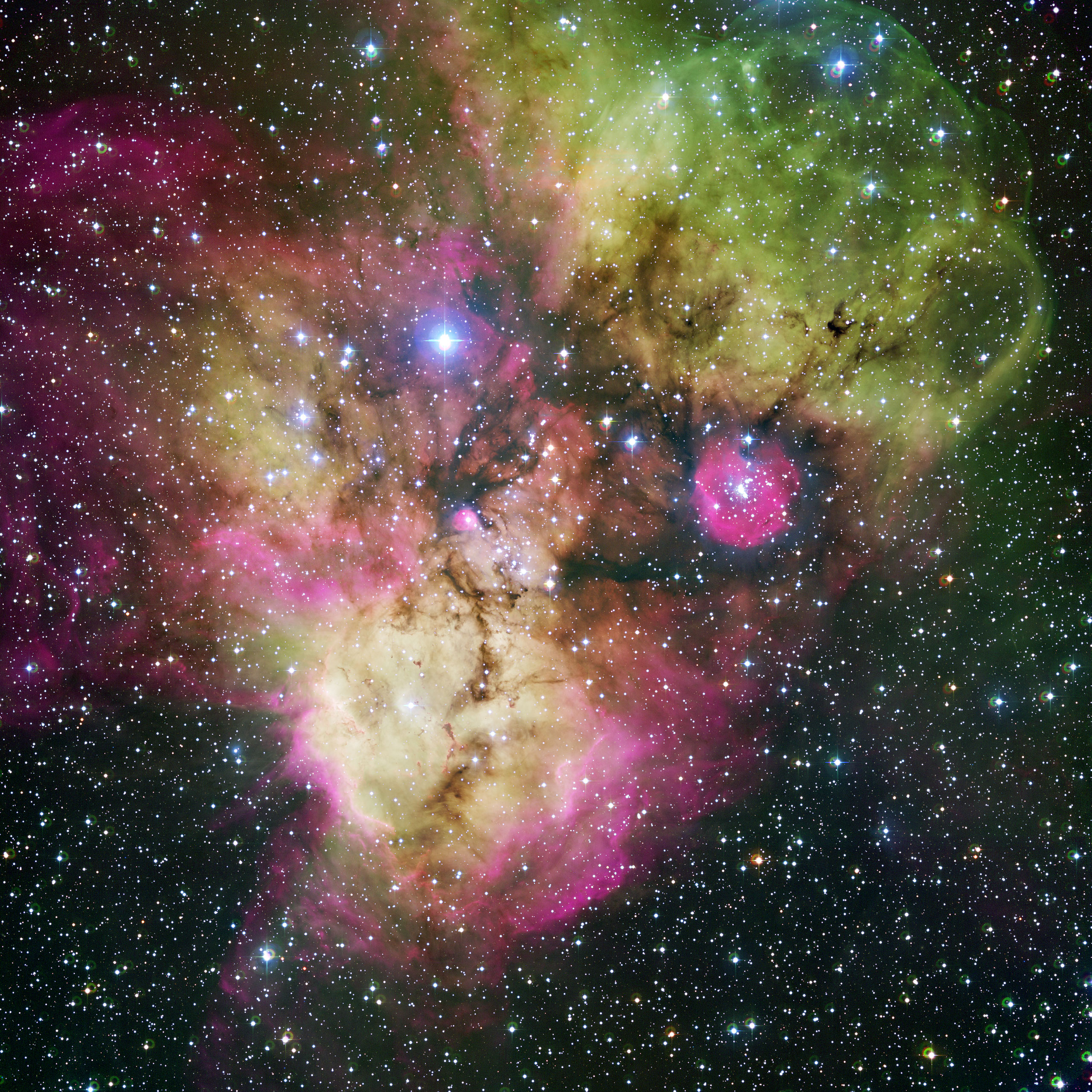 Franken Nebula The stellar cluster NGC 2467, also known as Franken Nebula, is located in the southern constellation of Puppis. NGC 2467 is a very active stellar nursery, where new stars are born continuously from large clouds of dust and gas.