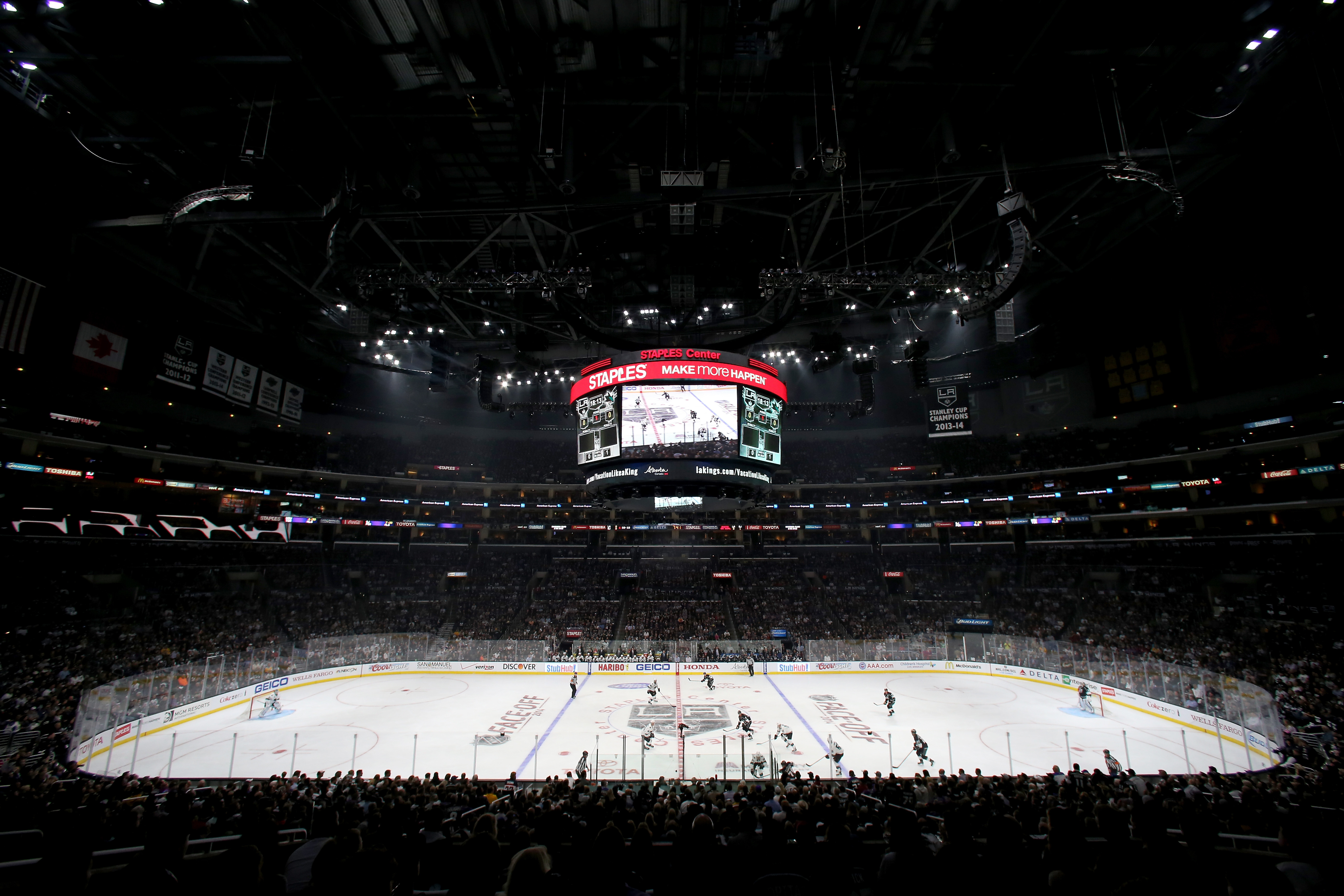 An overall view of the interior of the arena at the NHL season opener at Staples Center on October 8, 2014 in Los Angeles, California.