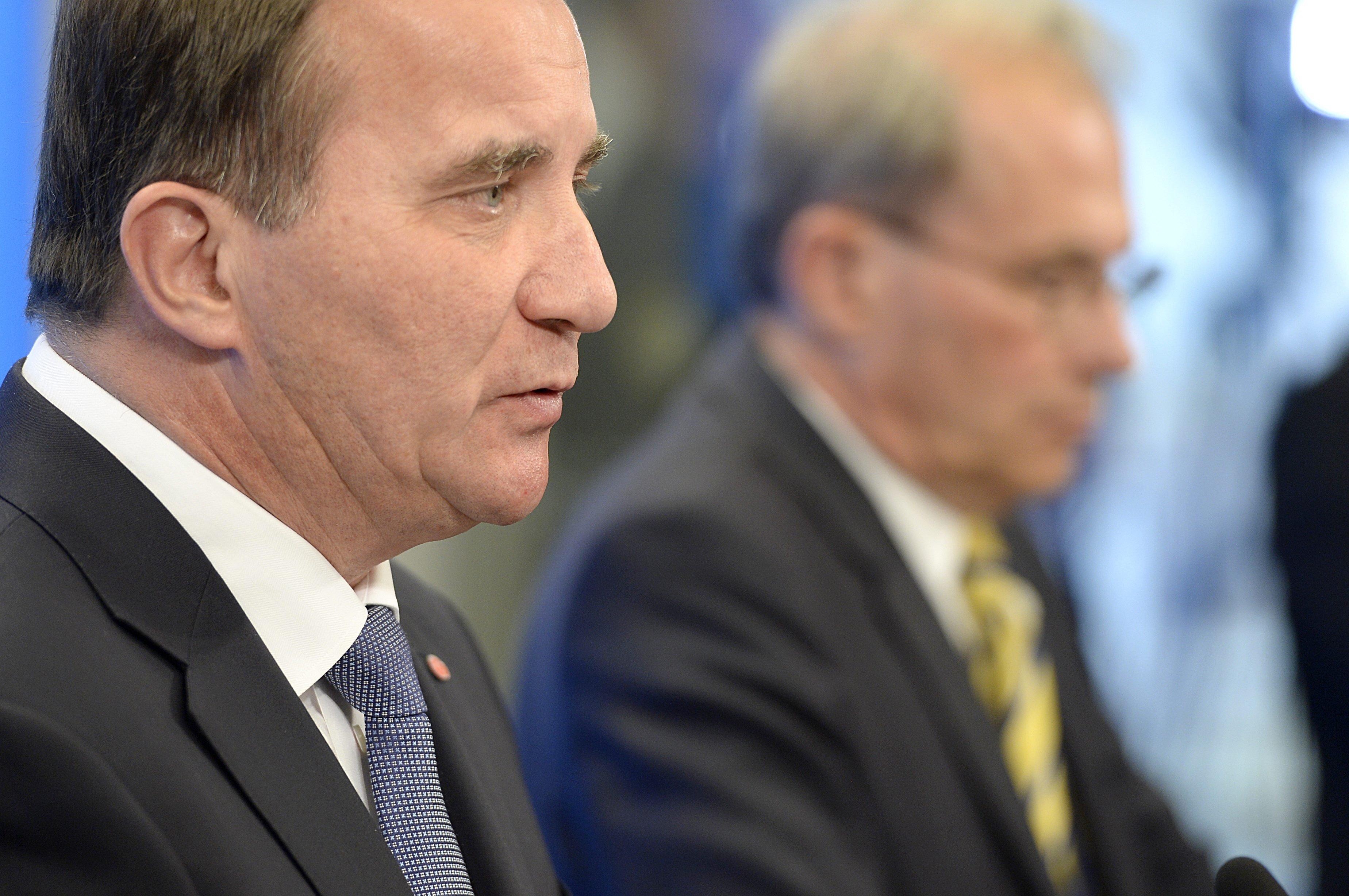 From left: Stefan Löfven and Per Westerberg in Stockholm on Sept. 18, 2014.