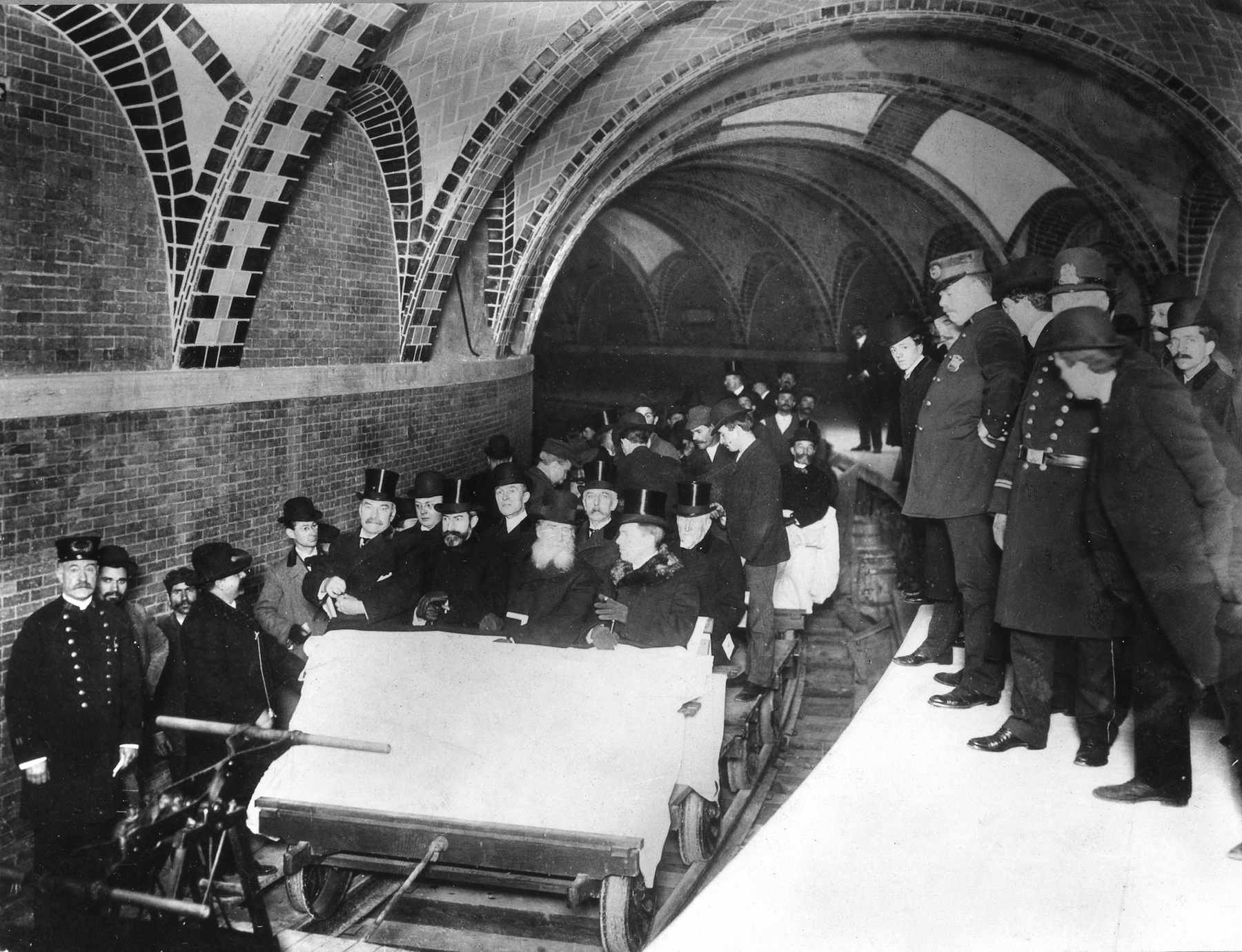 The opening of the first subway in New York, Oct. 27, 1904.
