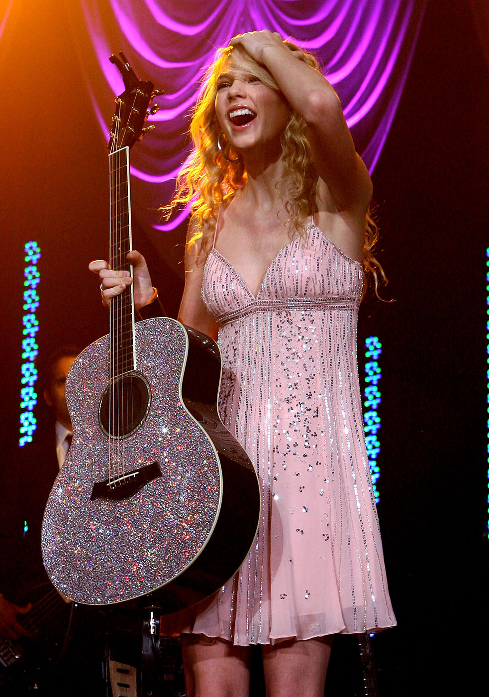 Taylor Swift performs during the Academy of Country Music New Artists' Party for a Cause show at the MGM Grand Hotel/Casino in Las Vegas, Nevada in 2008.