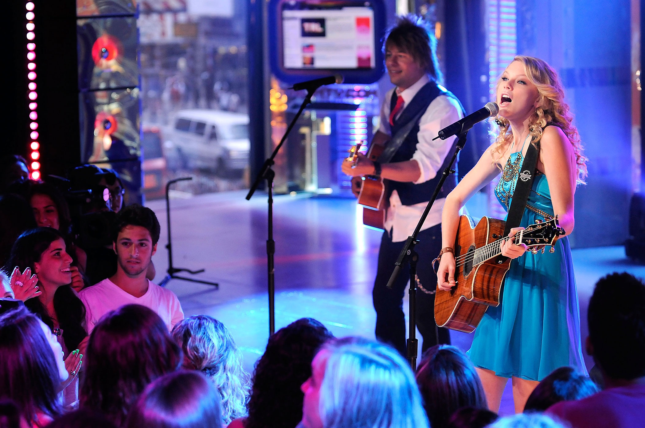 "Taylor Swift performs live on MTV's ""TRL"" at the MTV Studios in Times Square in New York City in 2008."