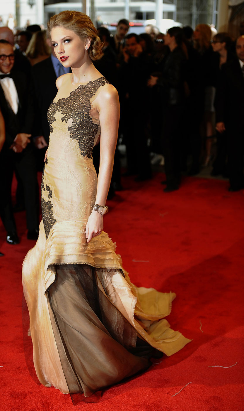 Taylor Swift attends the 'Alexander McQueen: Savage Beauty' Costume Institute Gala at The Metropolitan Museum of Art in 2011.
