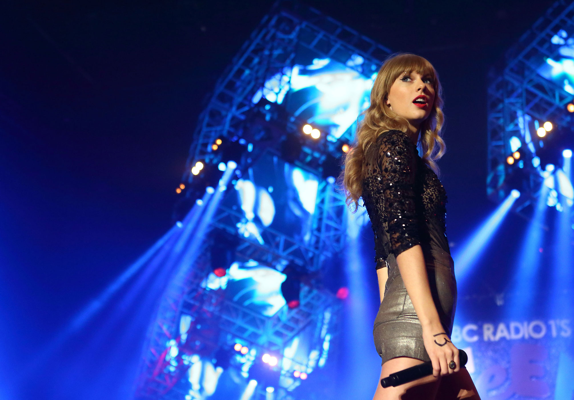 Taylor Swift performs at the Radio One Teen Awards at Wembley Arena in London, England in 2012.