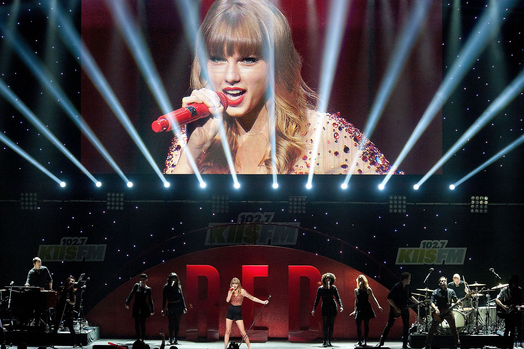 Taylor Swift performs during night 1 of the 2012 KIIS FM Jingle Ball at Nokia Theatre LA Live in Los Angeles, California.