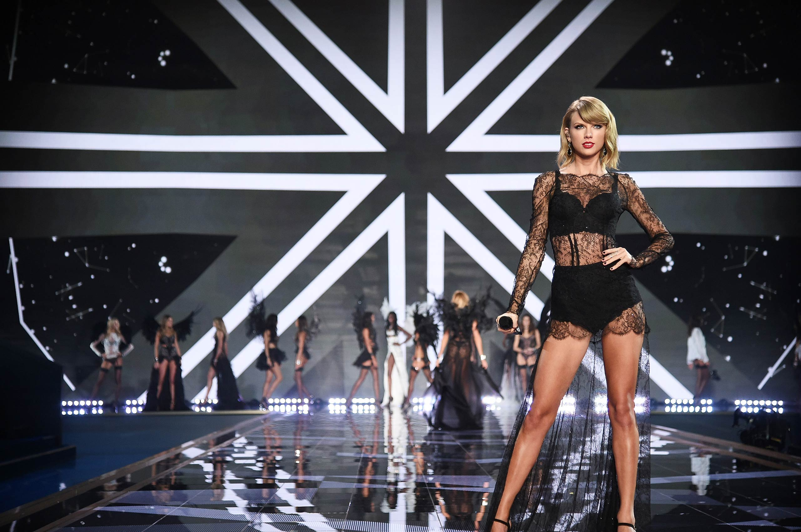 Taylor Swift performs during the 2014 Victoria's Secret Fashion Show at Earl's Court exhibition centre on Dec. 2, 2014 in London, England.