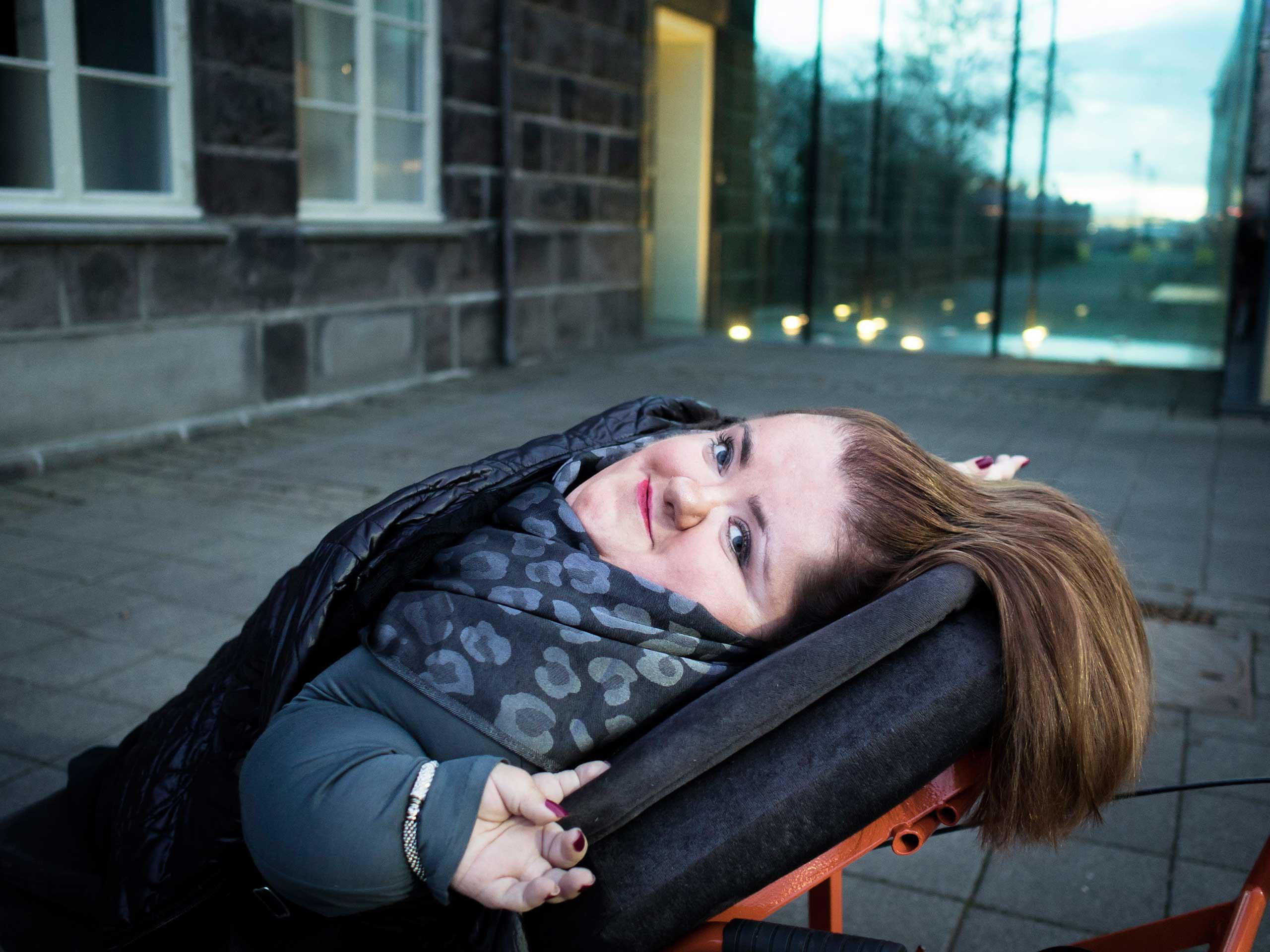 Freyja Haraldsdóttir, MP and disabled rights activist, outside parliament in Reykjavik,  Iceland, 2013.
