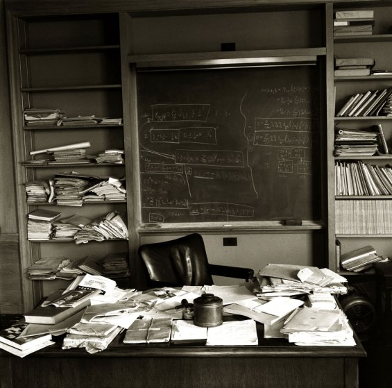 Albert Einstein's office - just as the Nobel Prize-winning physicist left it - taken mere hours after Einstein died, Princeton, New Jersey, April 1955.