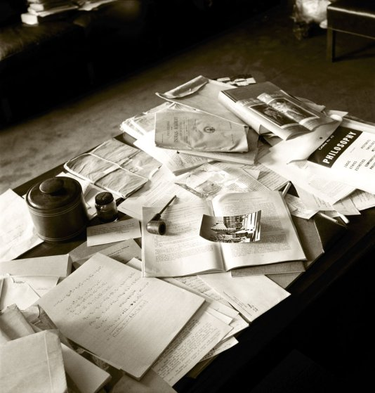 Albert Einstein's papers, pipe, ashtray and other personal belongings in his Princeton office, April 18, 1955.
