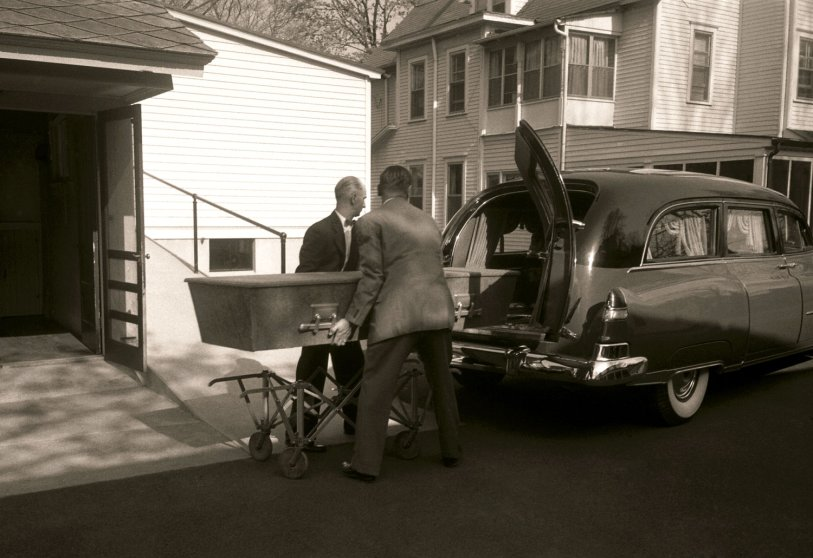 Albert Einstein's casket, moved for a short time from the Princeton Hospital to a funeral home, Princeton, New Jersey, April 1955.