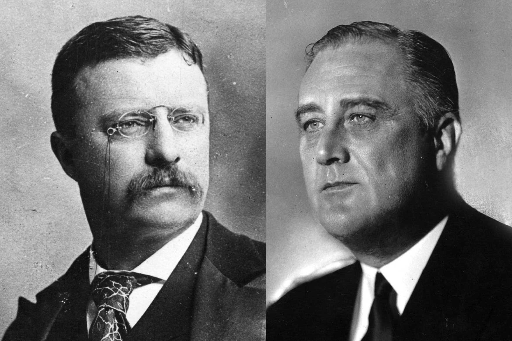 Theodore Roosevelt first become president after the assassination of President McKinley in 1901 and served until 1909. Franklin Roosevelt was a great admirer of his fifth cousin Theodore, and became President himself, serving from 1933 to 1945, the longest consecutive administration in America's history.