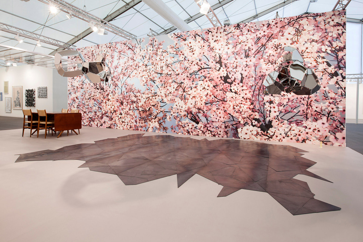 Hanami, 2014 - Walking into Esther Schipper's booth is like stepping into a cherry blossom display at Hanami, the yearly Japanese custom, which celebrates the transient beauty of flowers. Ironically, or brilliantly, Thomas Demand's blossoms will last. Unlike the real thing, they are made from paper and cardboard, then photographed, allowing us to enjoy an otherwise fleeting event that bit longer.