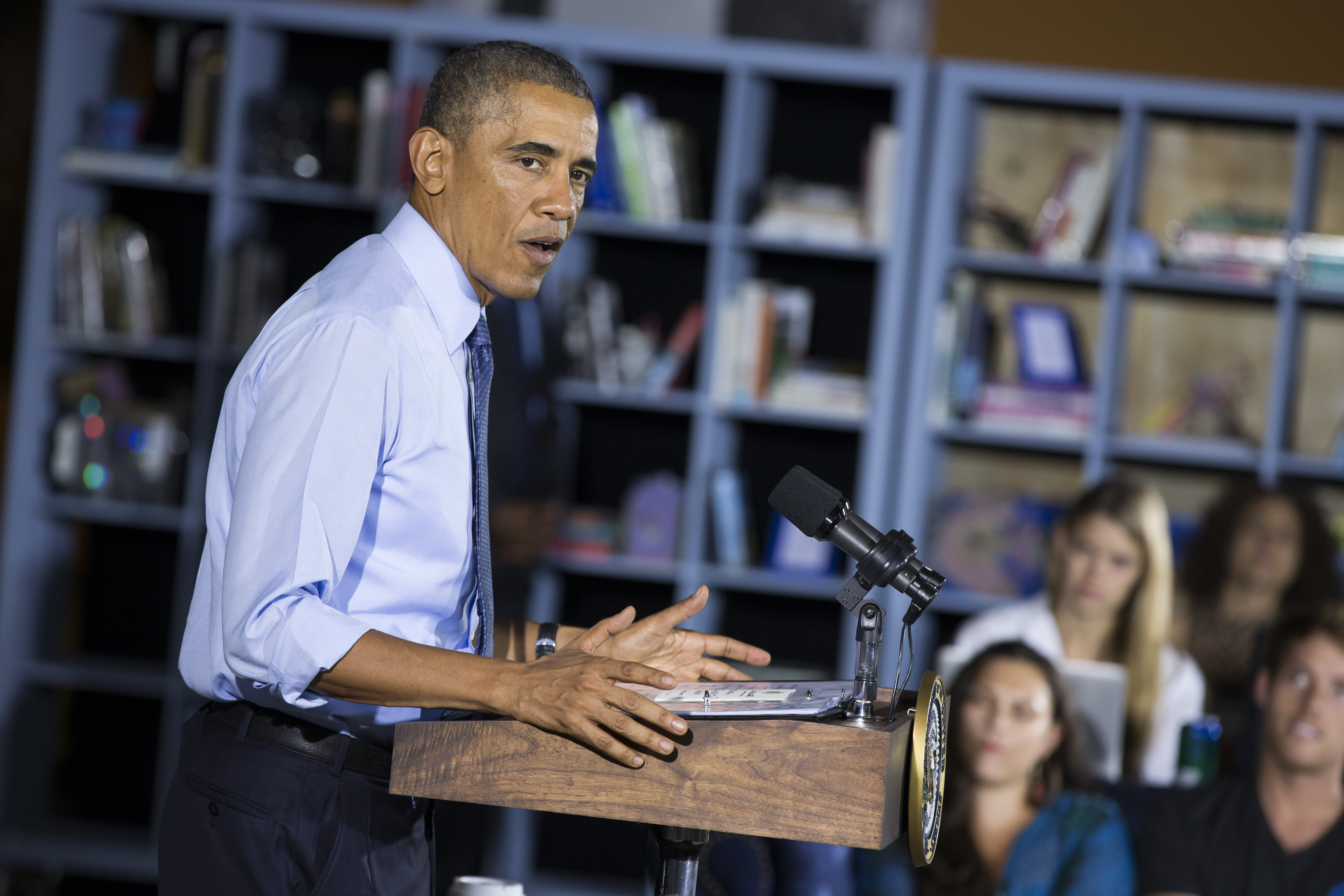 President Barack Obama speaks during an event at Cross Campus, on Thursday, Oct. 9, 2014, in Santa Monica, Calif.