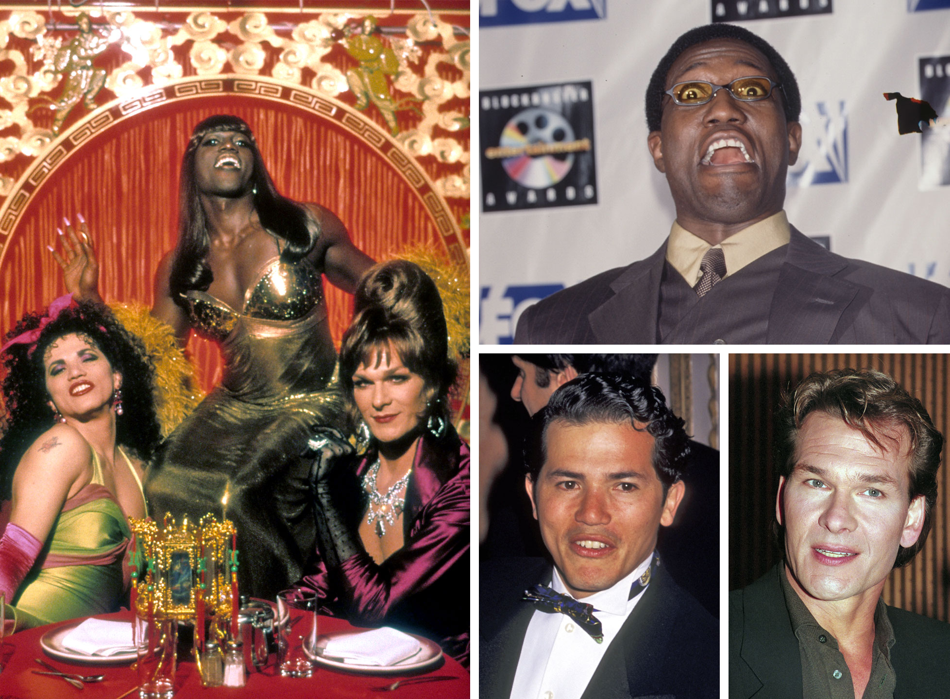John Leguizamo as Chi-Chi Rodriguez, Wesley Snipes as Noxeema Jackson and Patrick Swayze as Vida Boheme in To Wong Foo, Thanks for Everything! Julie Newmar