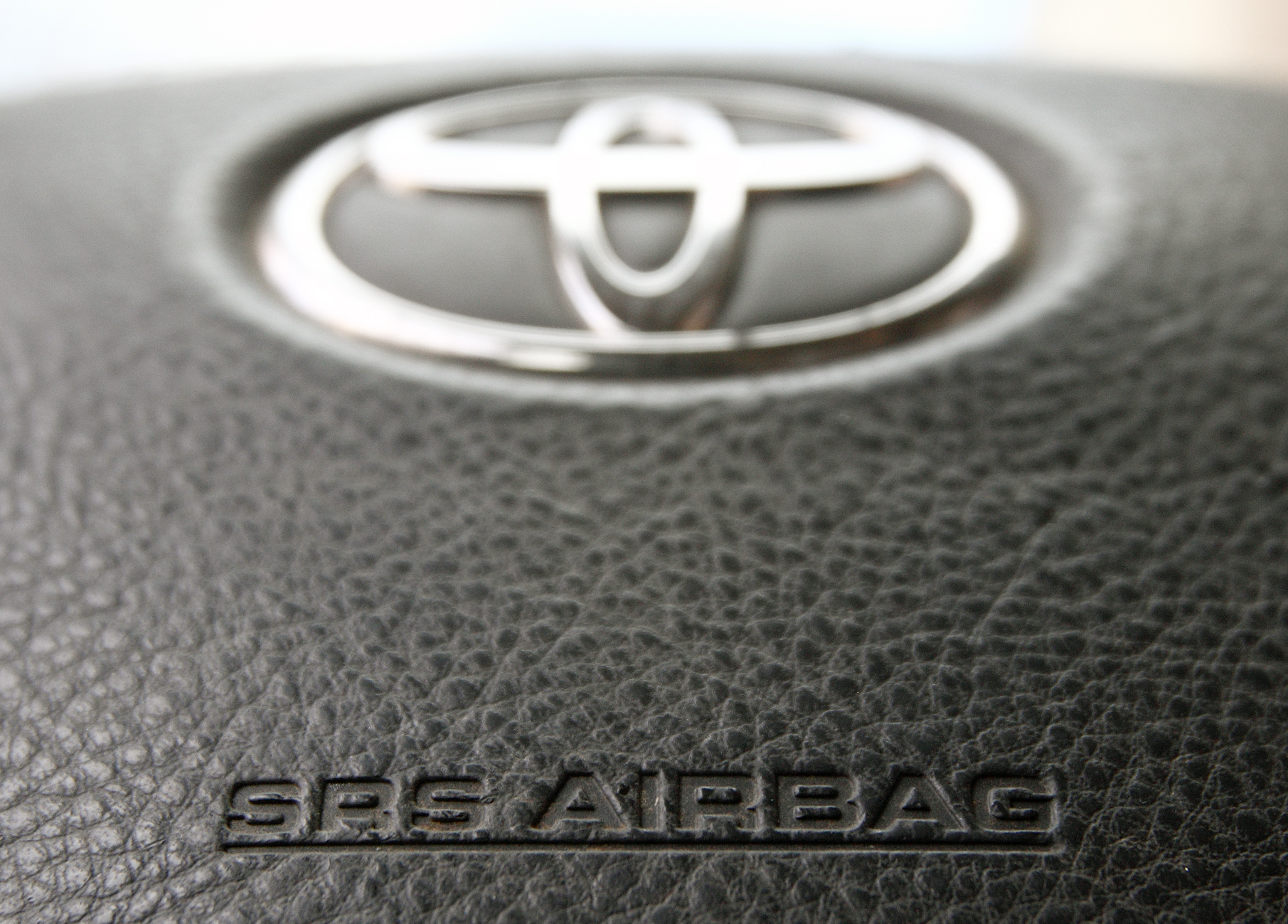The steering wheel of a Toyota car which contains an airbag is pictured in Vienna April 11, 2013.