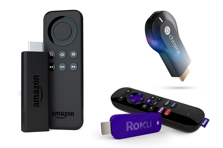 Clockwise left to right: Amazon's Fire TV Stick, Google's Chromecast, Roku's Streaming Stick