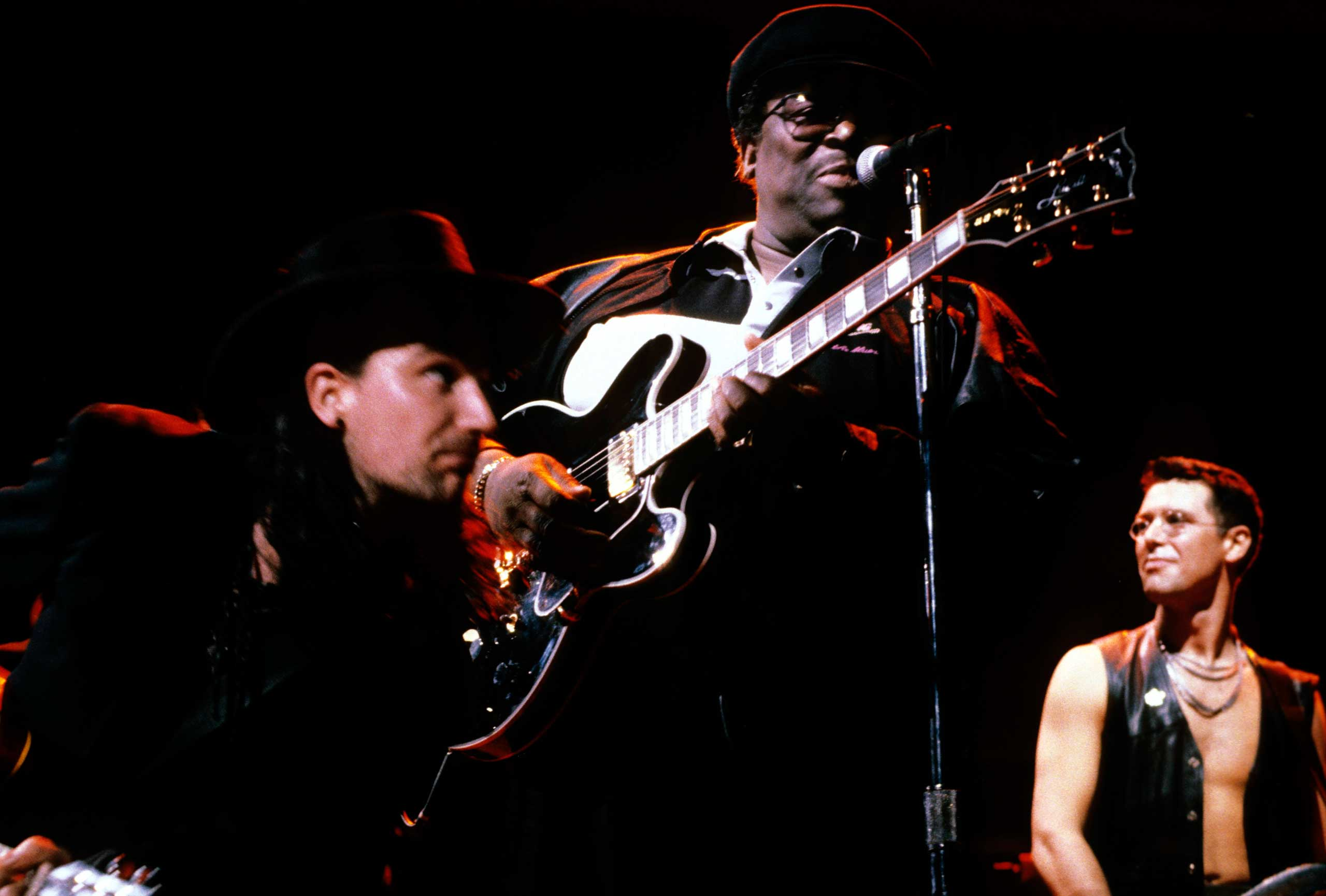 From Left: U2 and B.B. King perform onstage during The Lovetown tour on Sept. 1, 1989 in Australia.
