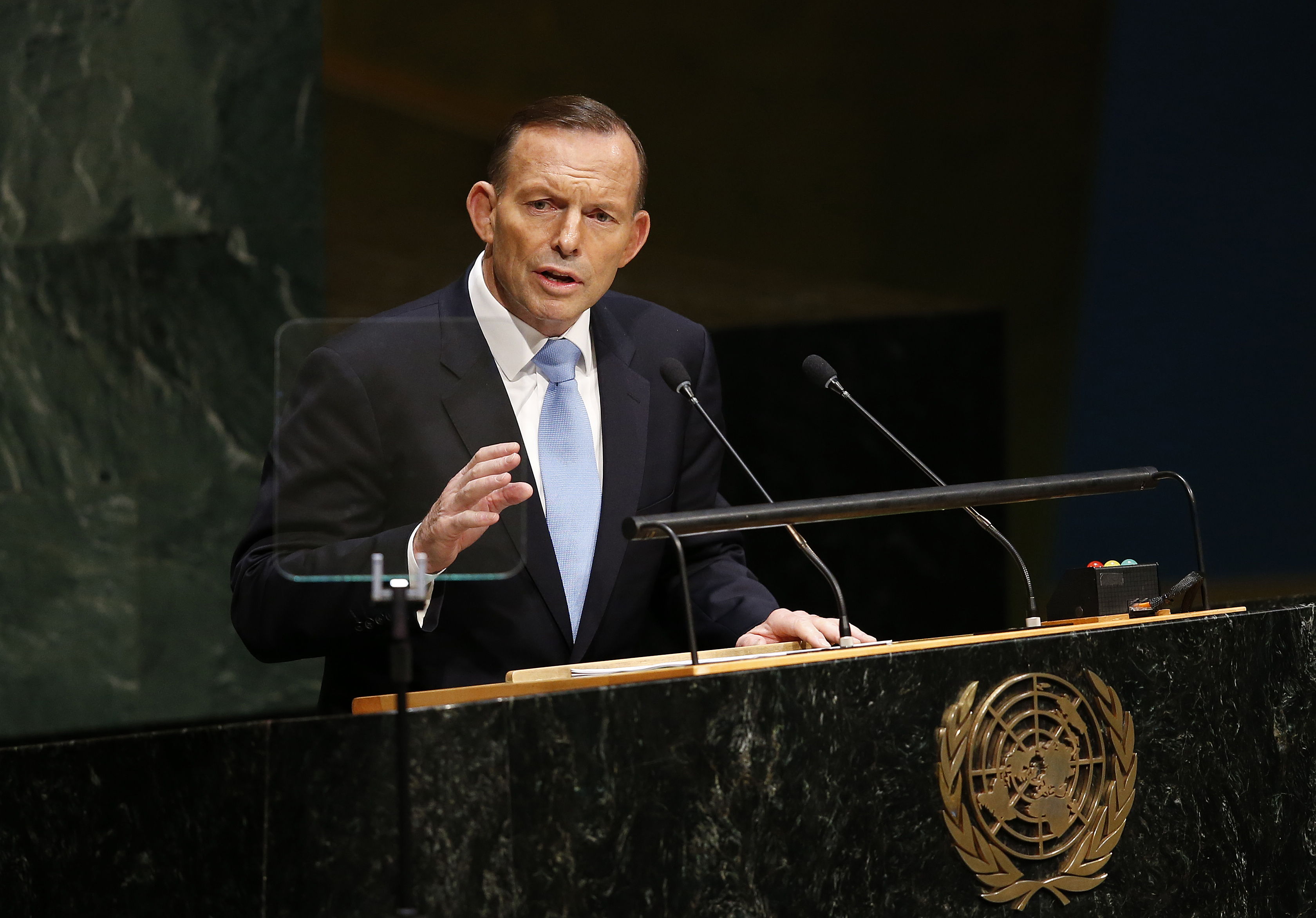 Prime Minister Tony Abbott of Australia addresses the 69th session of the United Nations General Assembly at U.N. headquarters, Thursday, Sept. 25, 2014.