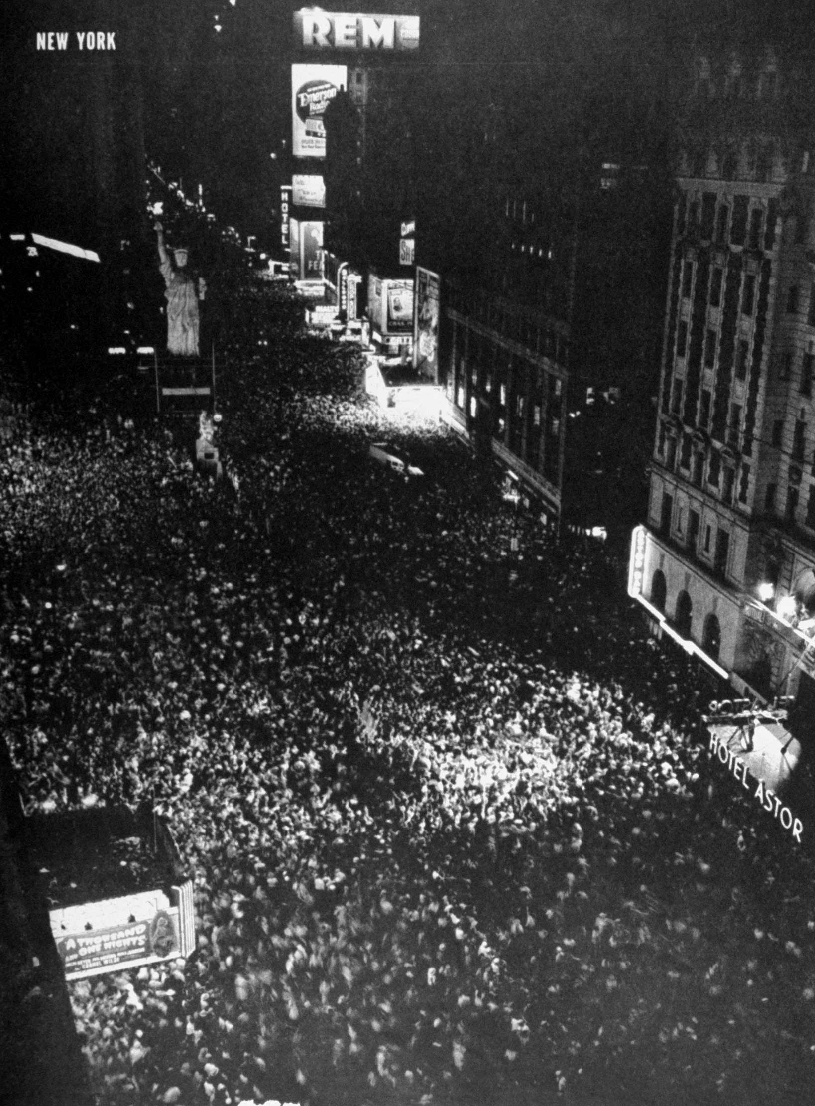 New York's Times Square, August 14, 1945 — V-J Day.