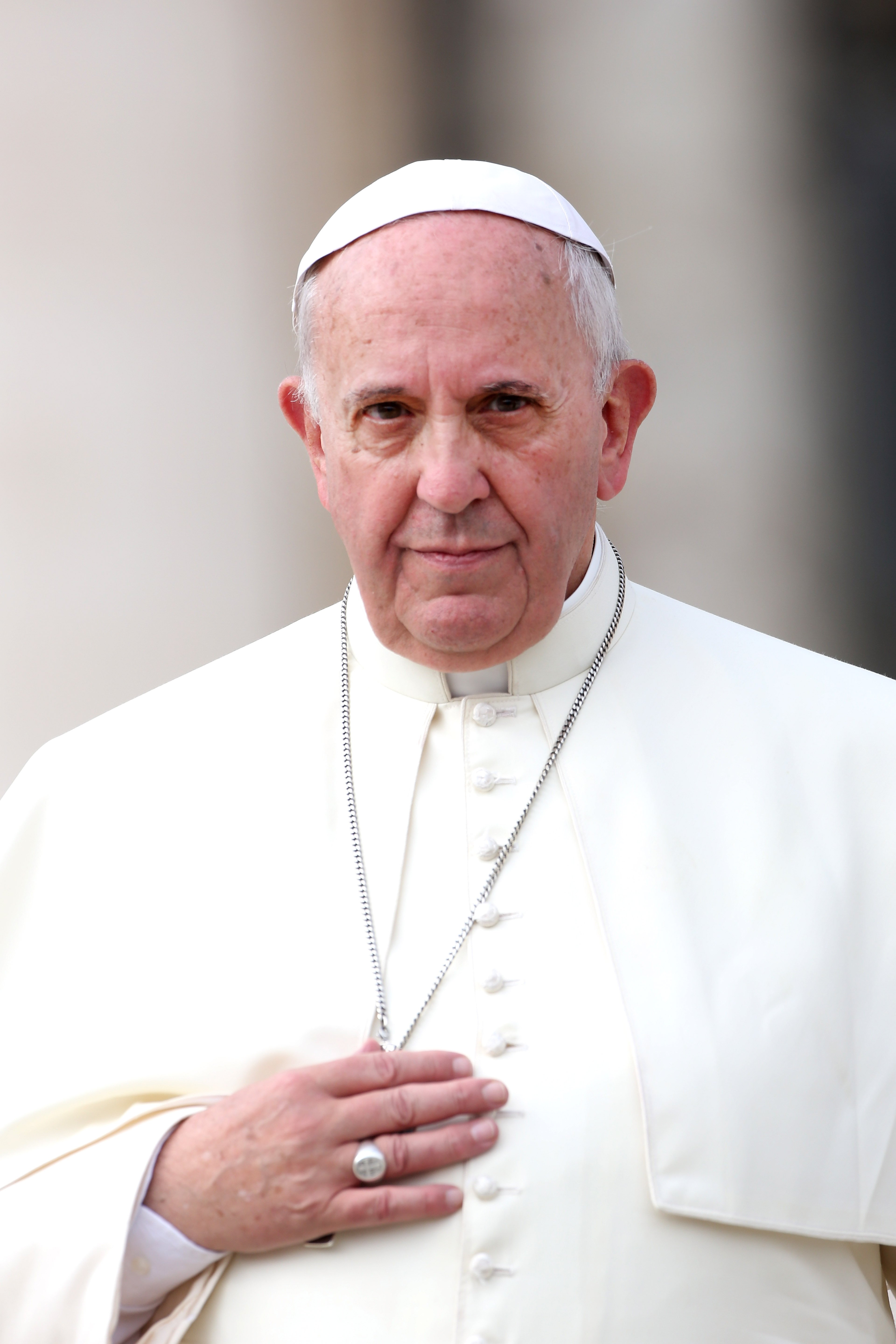 Pope Francis holds his weekly audience in St. Peter's Square on Oct. 15, 2014 in Vatican City.