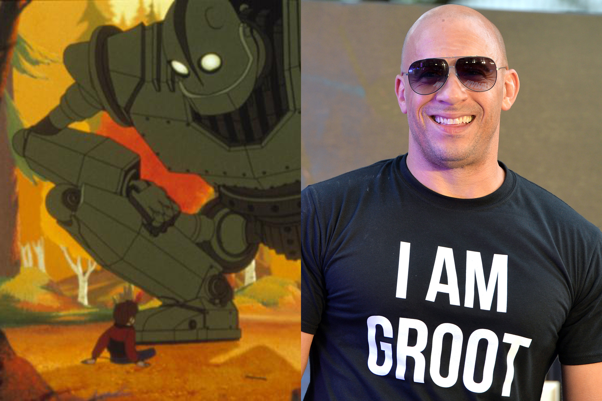 Vin Diesel's voice acting career consists of more than three words. In 1999, he was the voice of The Iron Giant in its eponymous movie.