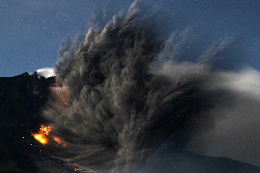 Mount Sinabung volcano erupts in Sumatra, Indonesia on Oct. 9, 2014