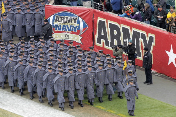 The Cadets of West Point march on to the field before a game between the Army Black Nights and the Navy Midshipmen on Dec. 14, 2013.