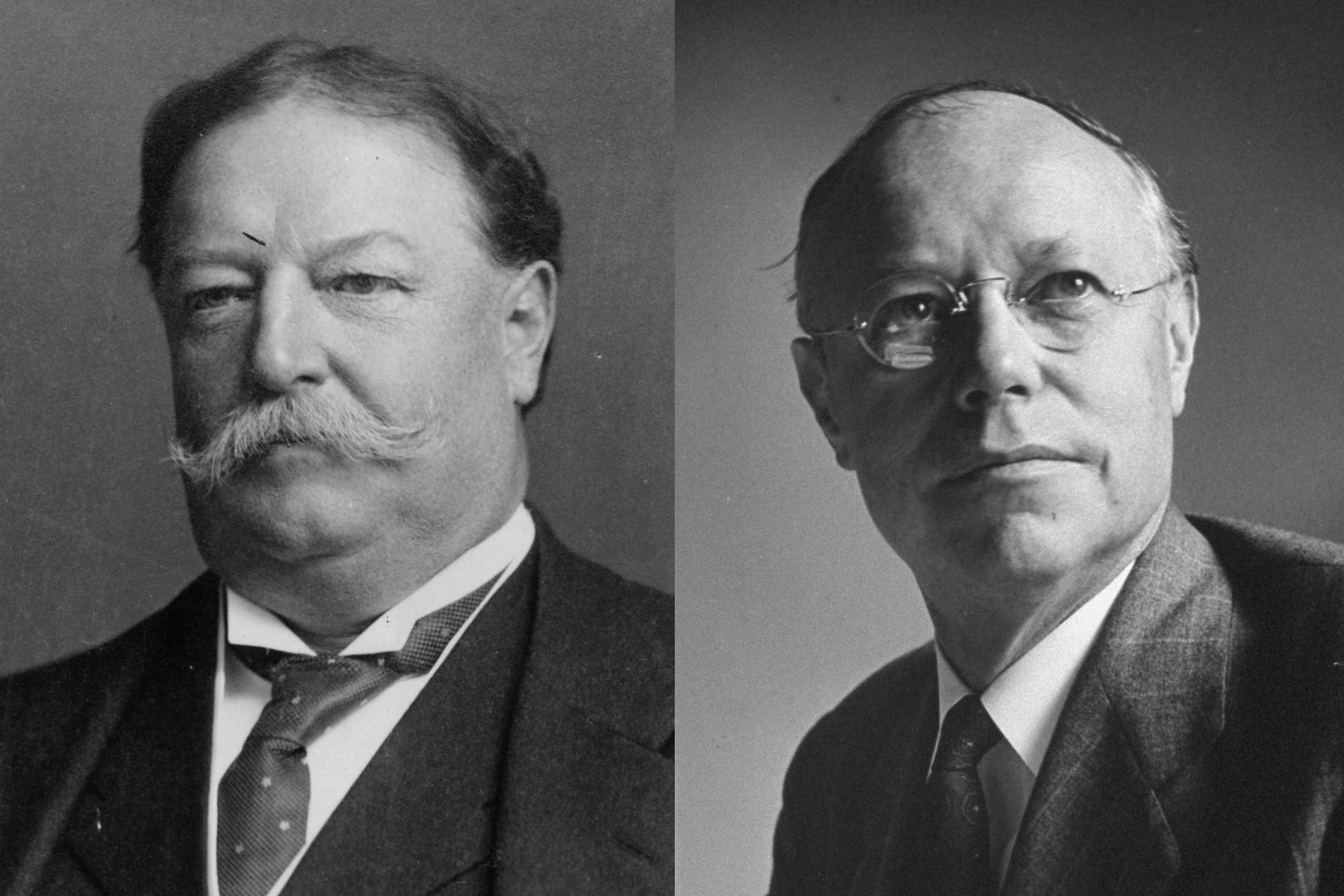 The Taft family includes prominent Americans extending back to the colonial era. William Howard Taft (left) was President from 1909 to 1913 and later appointed Chief Justice of the Supreme Court. His son Robert A. Taft (right) wielded extraordinary power and influence as a member of the U.S. Senate, where he served until his death in 1953.