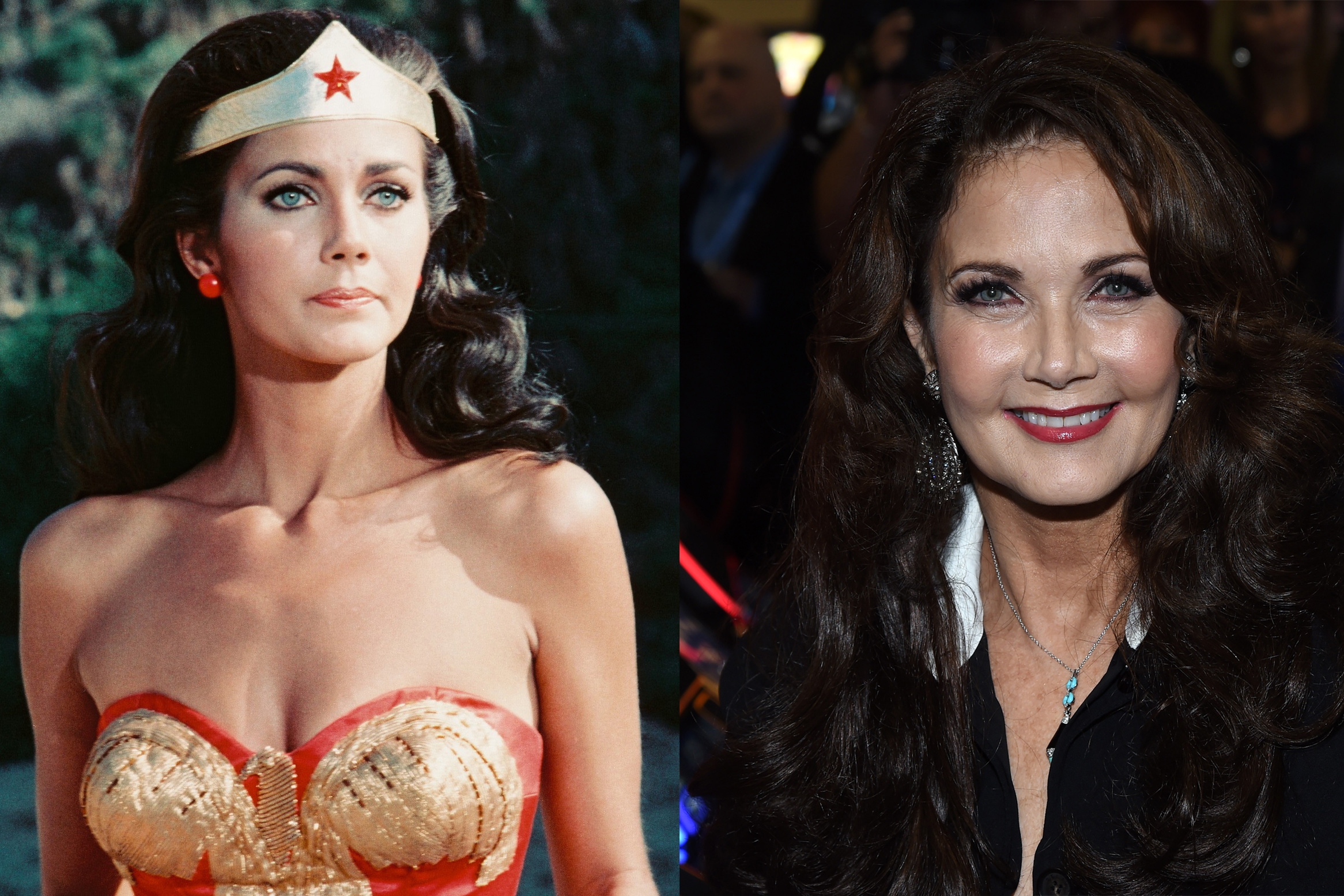 Lynda Carter starred in the Wonder Woman TV series from 1975 to 1979. Since then, she's made lots of self-referential appearances on shows like Smallville and Two and a Half Men.