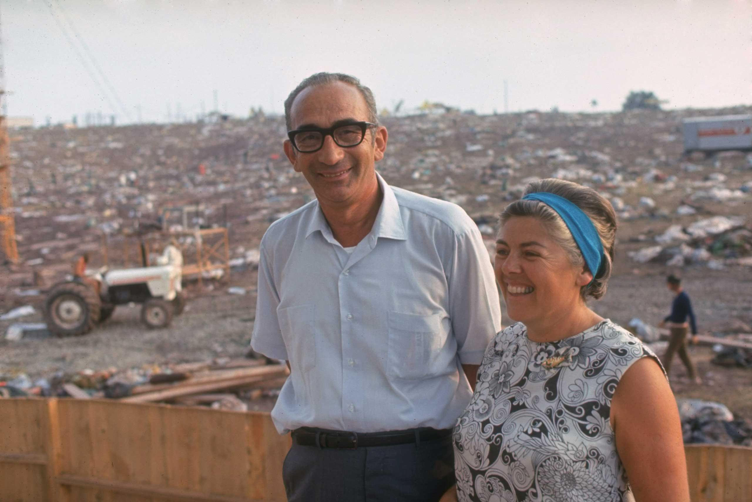 Not published in LIFE. Max and Miriam Yasgur on their land after the Woodstock Music & Art Fair, August 1969.