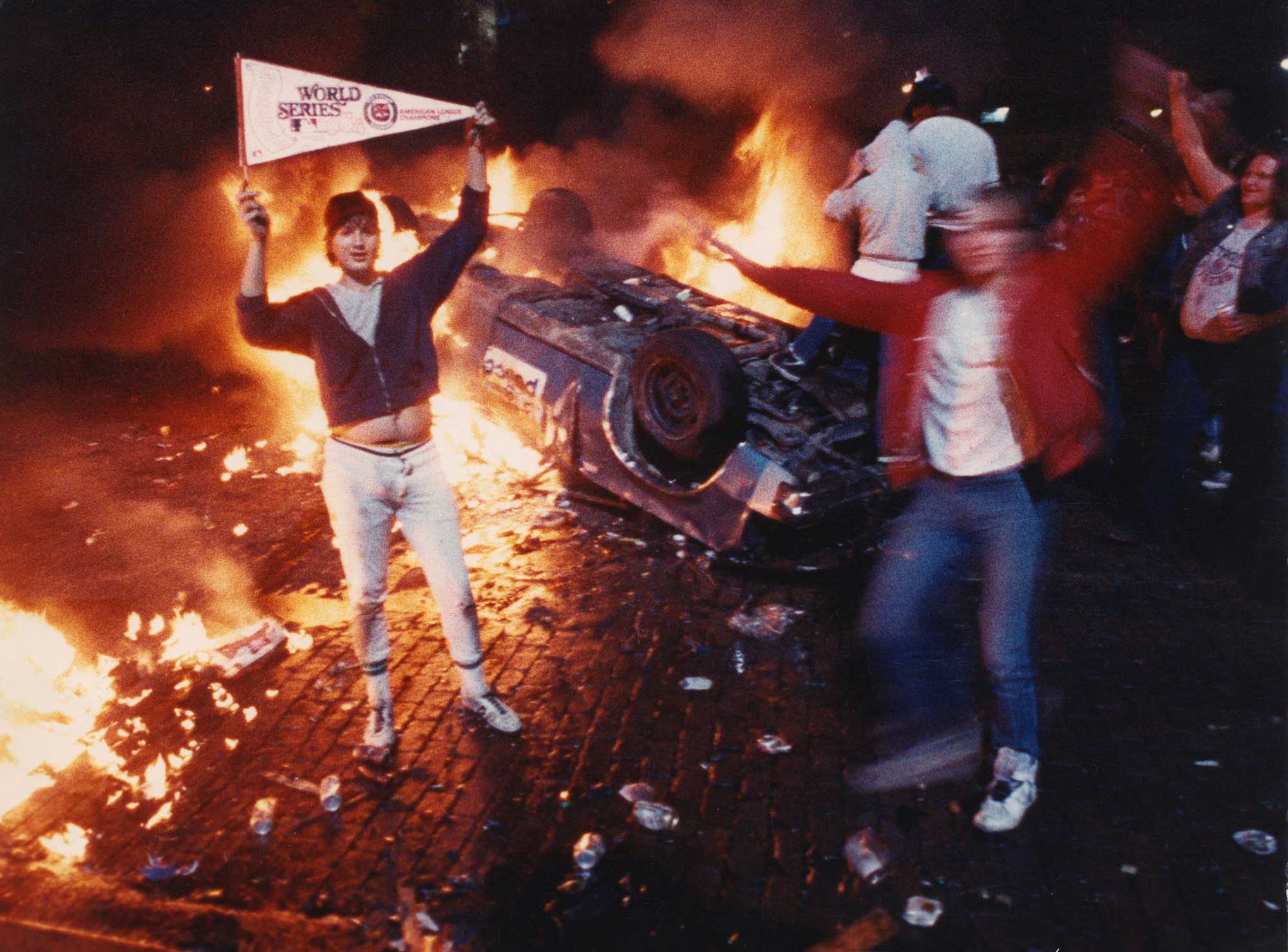Bubba Helms, left, celebrates after the Detroit Tigers won the 1984 World Series in Detroit in 1984.