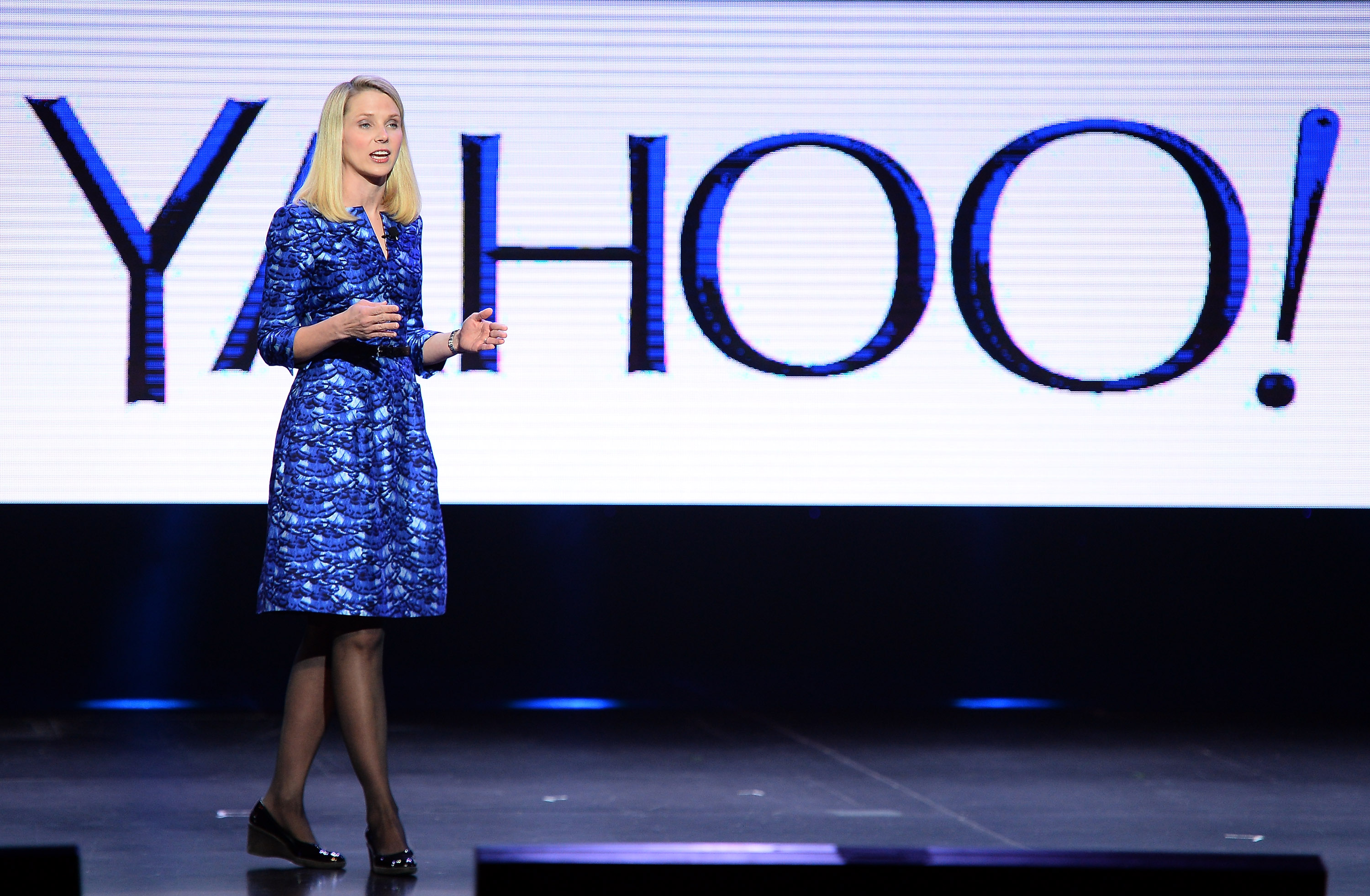 Yahoo! President and CEO Marissa Mayer delivers a keynote address at the 2014 International CES in Las Vegas, Nevada.