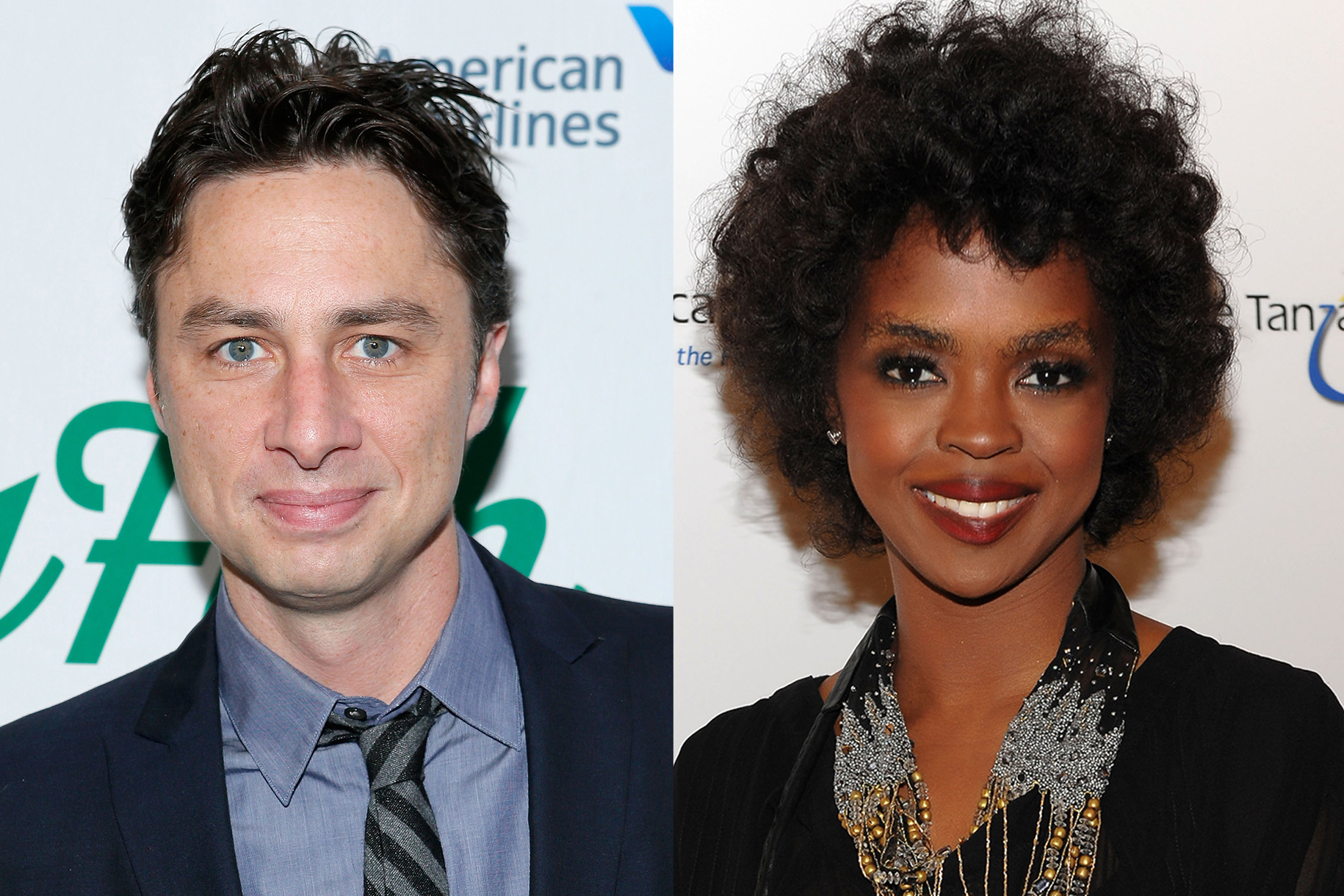 Another high-school pair: Zach Braff and  Lauryn Hill were schoolmates in New Jersey; he's said that she was at his Bar Mitzvah.