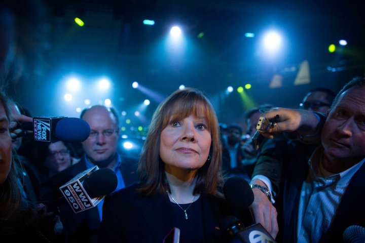 Mary Barra speaks to the media after the GM 2015 GMC Canyon truck unveiling in Detroit on Jan. 12, 2014.