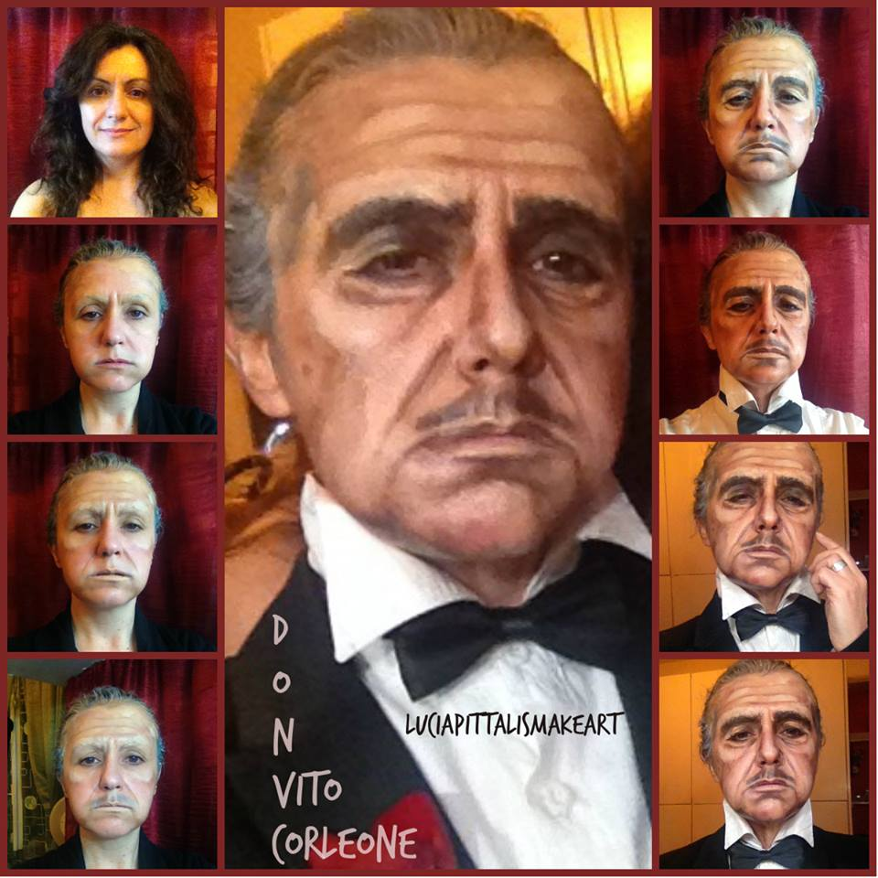 Lucia Pittalis as Marlon Brando's character Don Vito Corleone in The Godfather