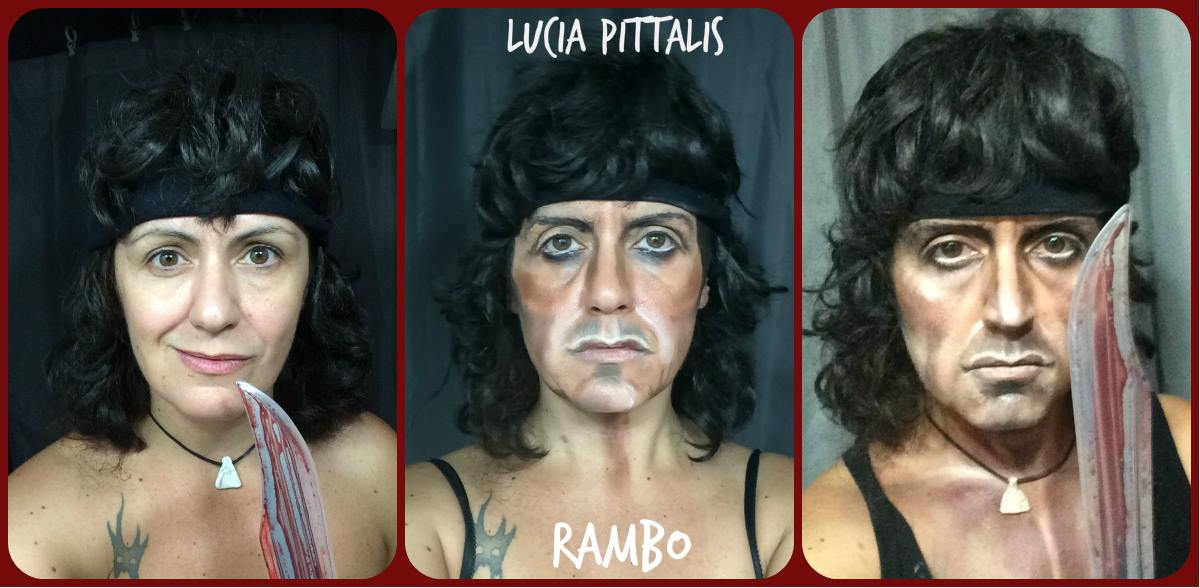 Lucia Pittalis as Sylvester Stallone's character John Rambo in Rambo