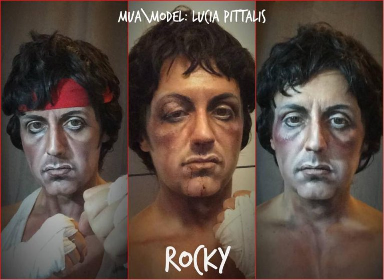 Lucia Pittalis as Sylvester Stallone's character Rocky Balboa in Rocky