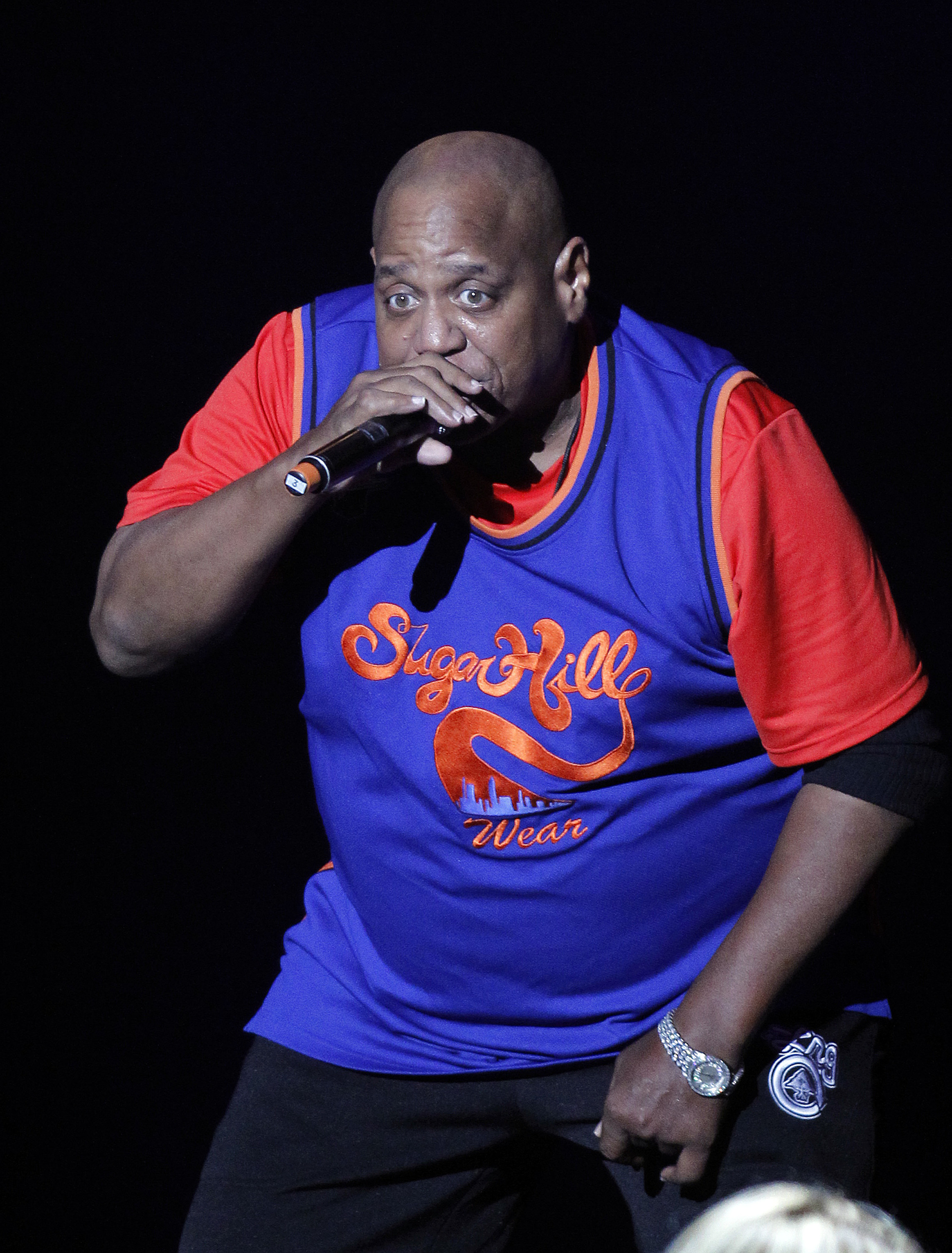 Sugarhill Gang's Henry 'Big Bank Hank' Jackson performs during the Justin Timberlake and Friends Old School Jam concert in 2011