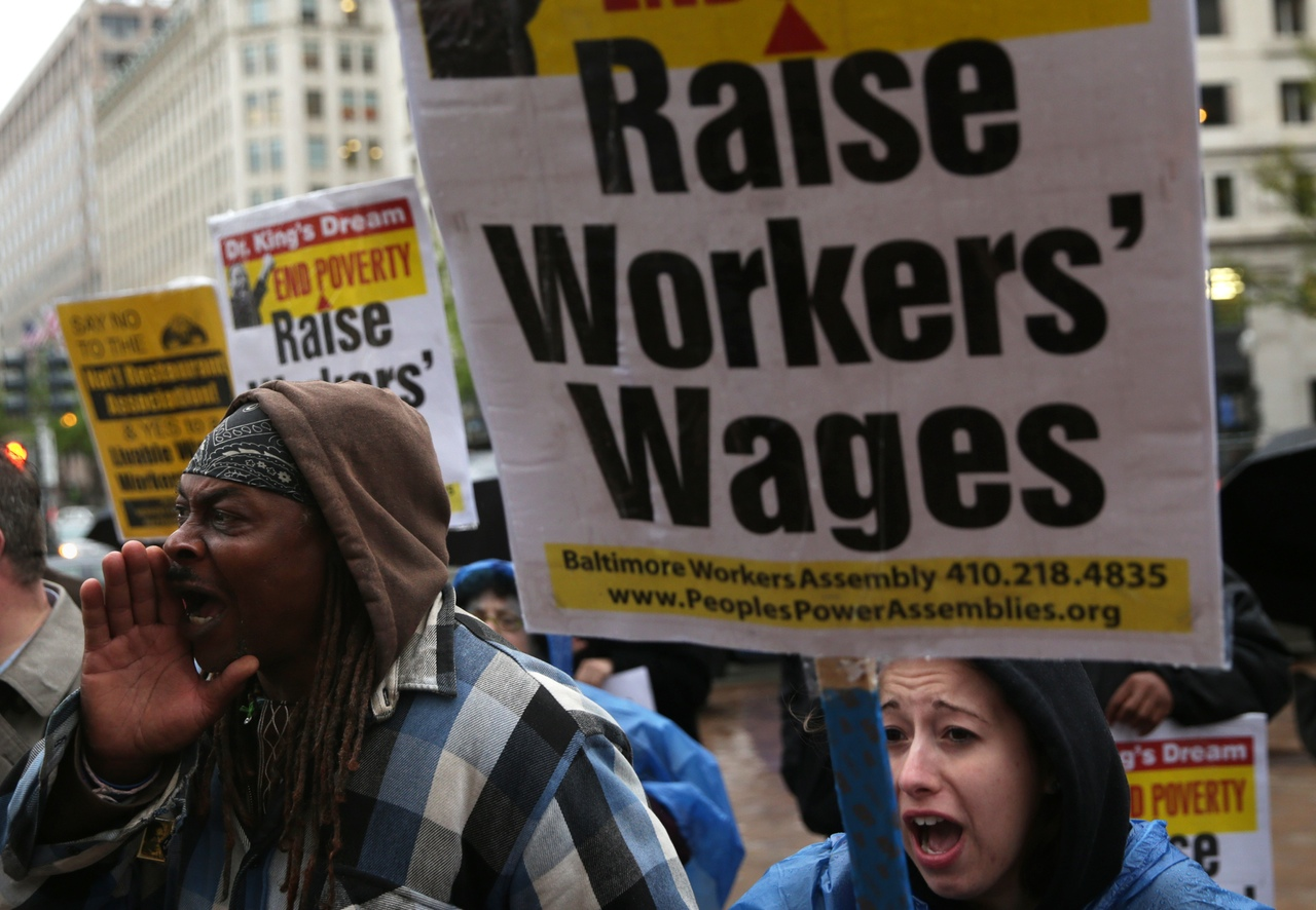 Activists hold protest In favor of raising minimum wage on April 29, 2014 in Washington, DC.