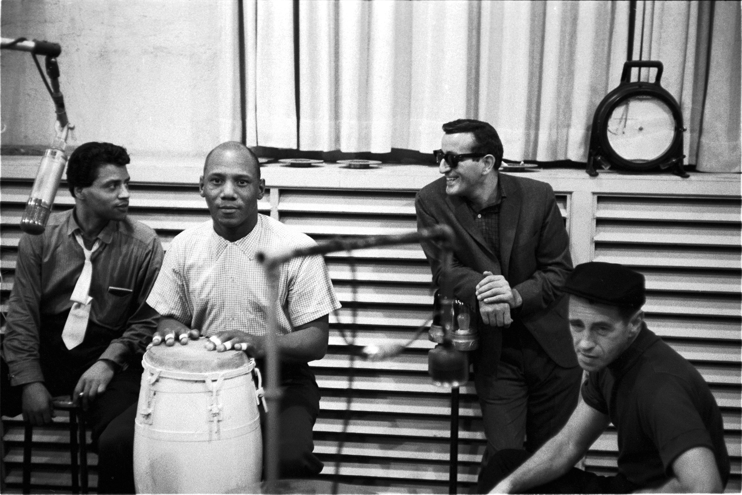Tony Bennett in recording studio with Candido & Sabu, October 1957.