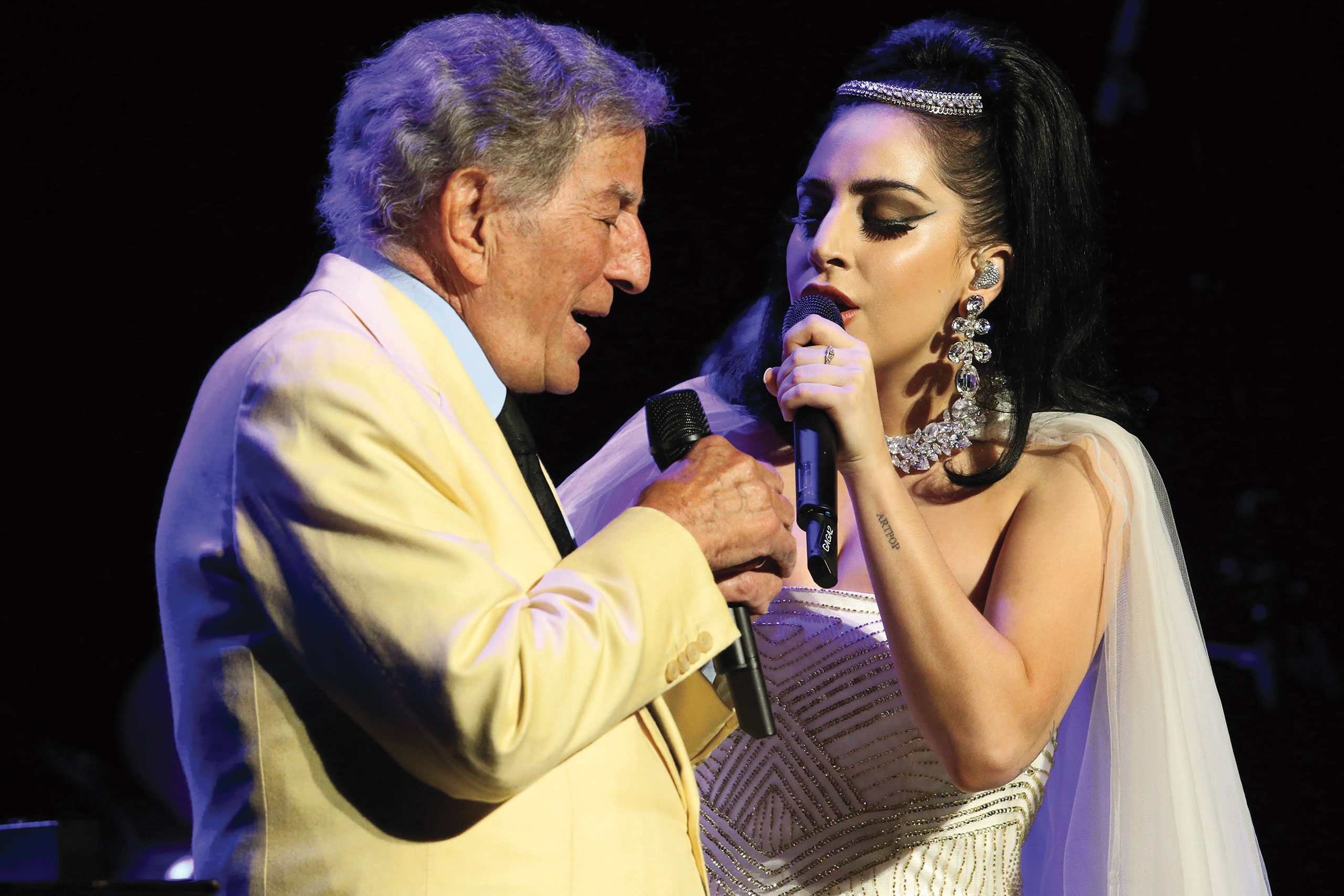 Tony Bennett and Lady Gaga at the Montreal Jazz Festival on July 1, 2014 in Montreal, Canada.